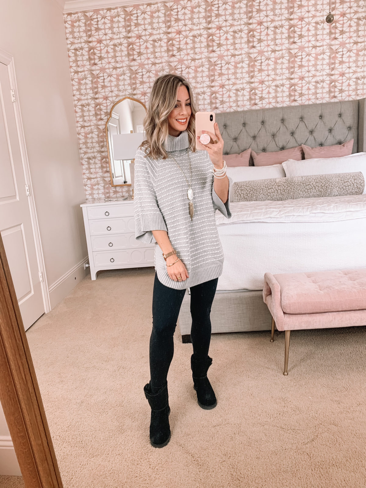Amazon Fashion Faves, Turtleneck Poncho Sweater, Ponte Leggings, Booties