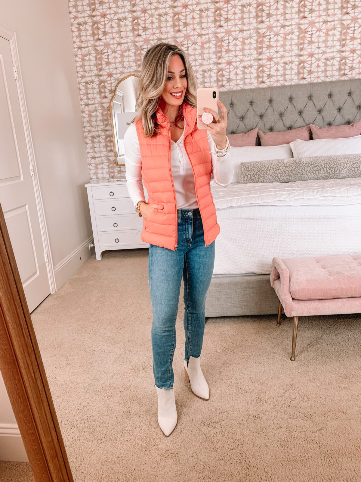 Amazon Fashion Faves, Henley Tee, Puffer Vest, Jeans, Booties
