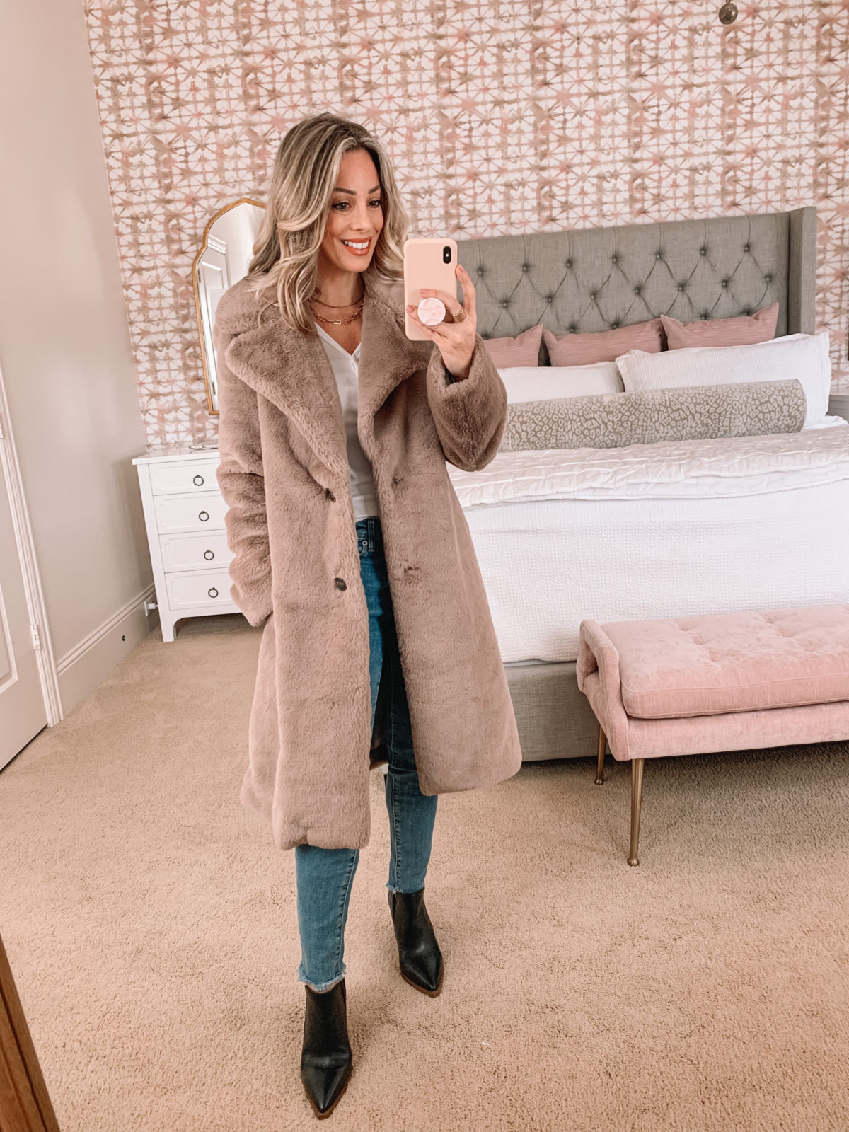 Amazon Fashion Faves, Henley Tee, Jeans, Coat, Booties