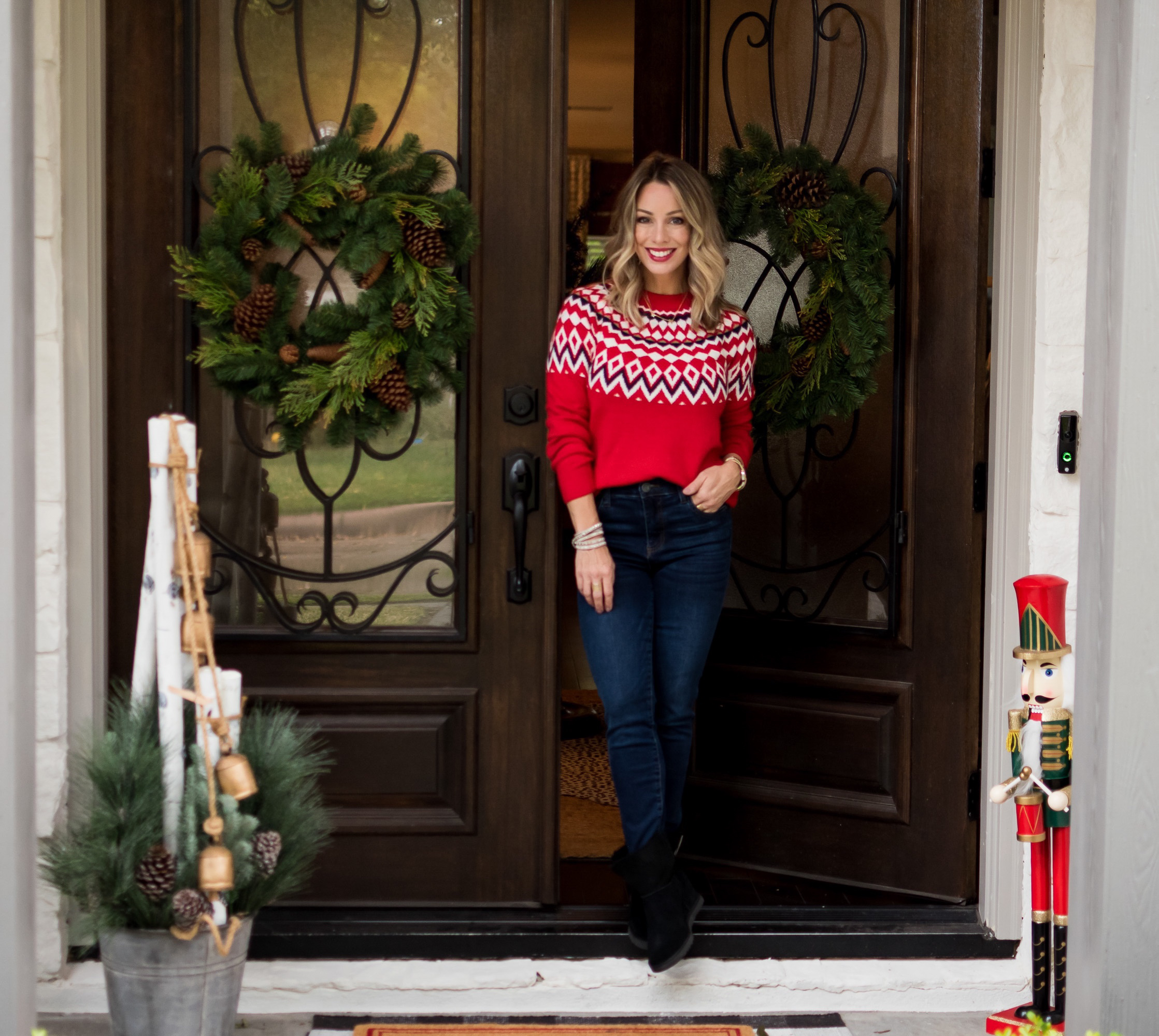 Christmas Home Tour, Fair Isle Sweater, Jeans, Booties