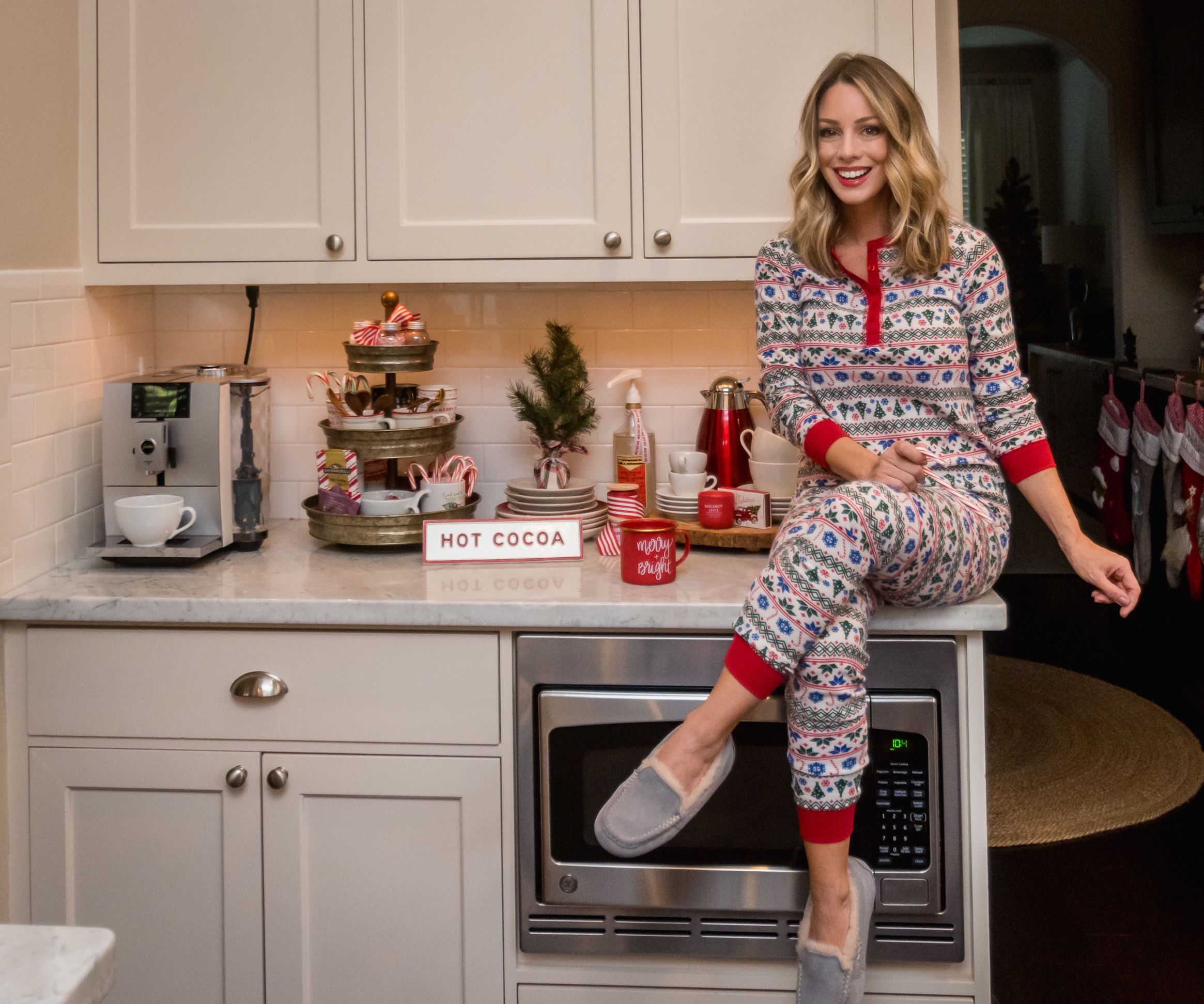 Christmas Home Tour, Fair Isle Pajamas, Ugg Slippers, Coffee Bar