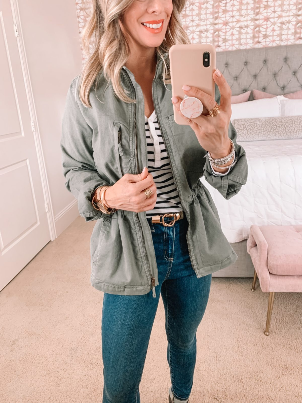 Amazon Capsule Wardrobe, Stripe Tee, Military Jacket, Jeans