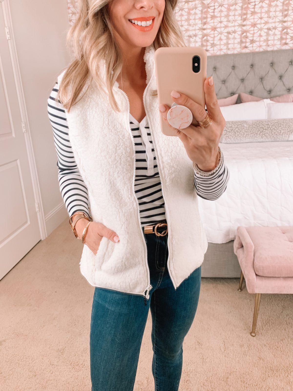 Amazon Capsule Wardrobe, Stripe Tee, Fuzzy Vest, Skinny Jeans, Belt