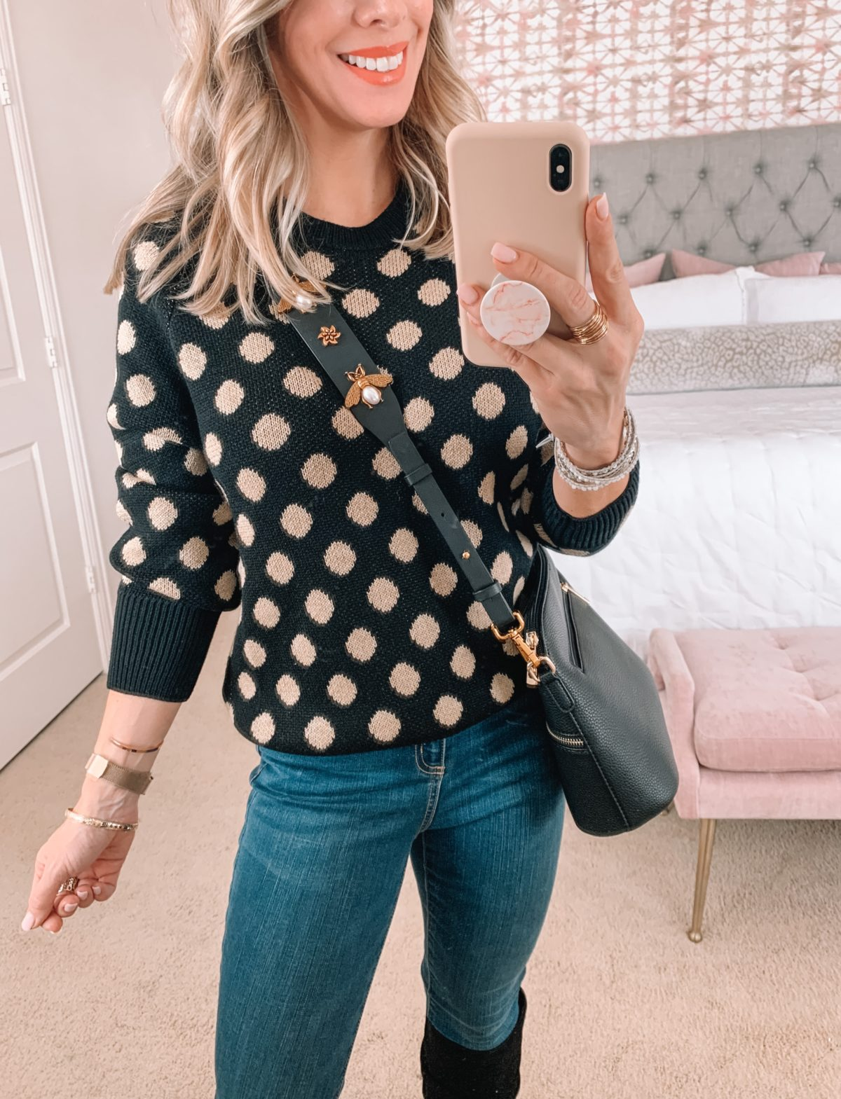 Amazon Fashion Faves, Polka Dot Sweater, Jeans, Boots, Crossbody Bag