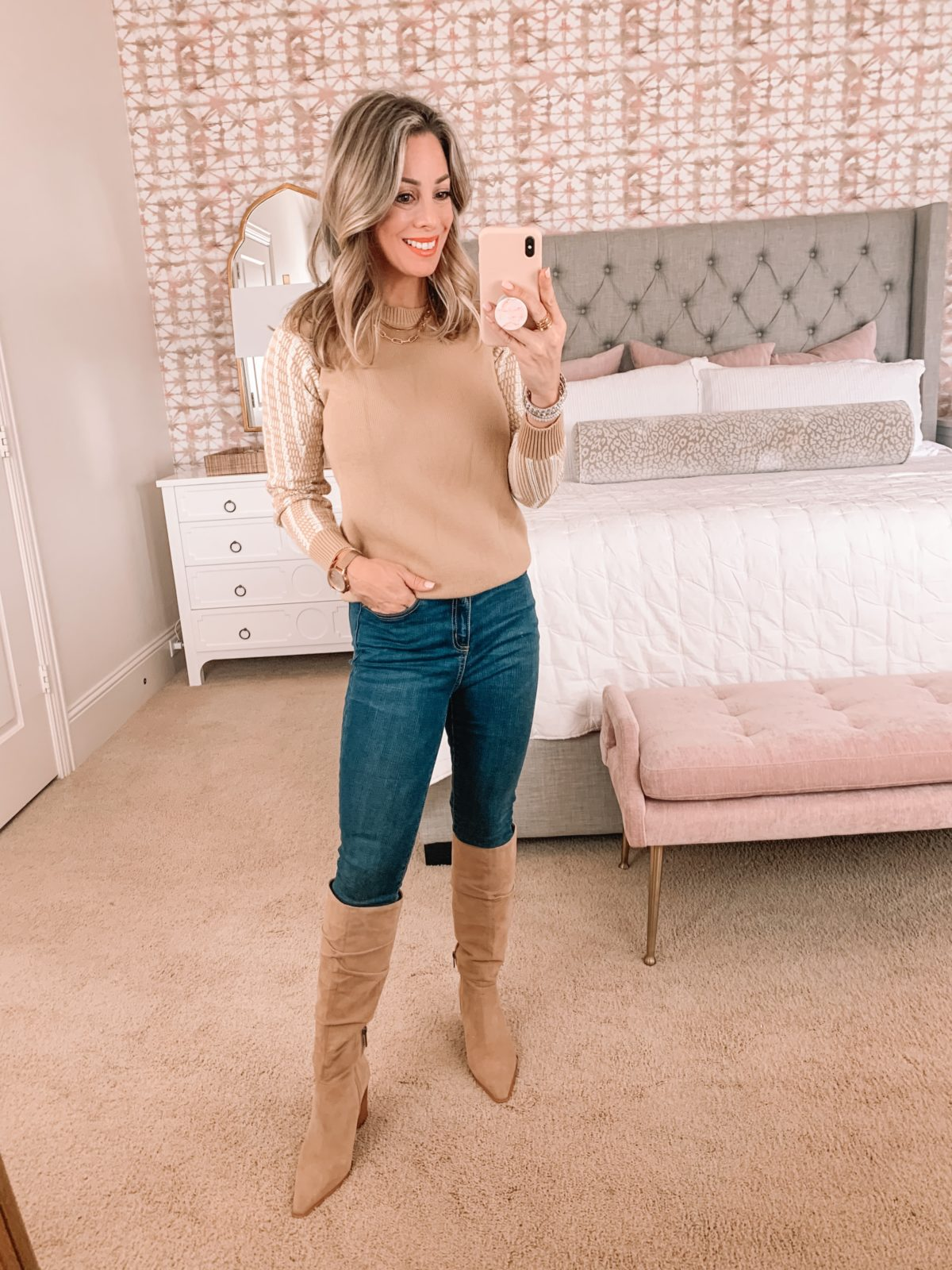 Amazon Fashion Faves, Sweater, Jeans, Knee High Boots