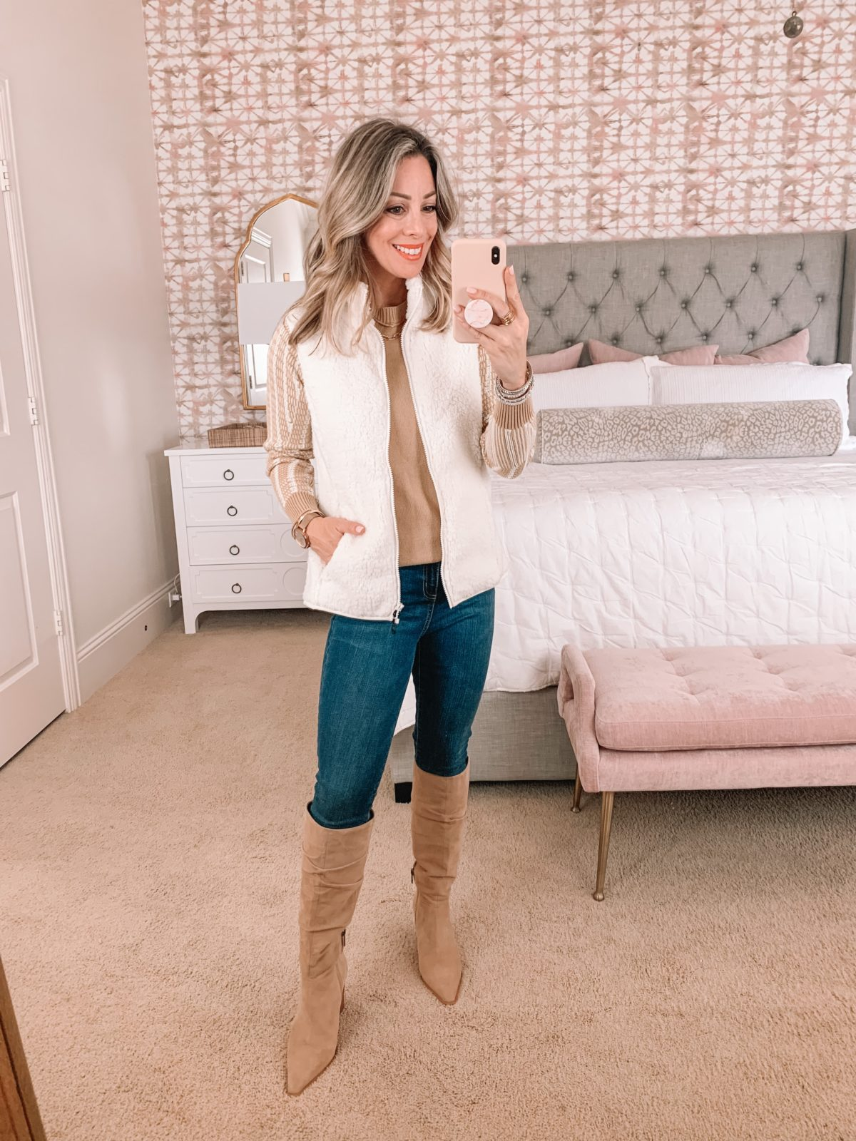 Amazon Fashion Faves, Sweater, Vest, Jeans, Knee High Boots