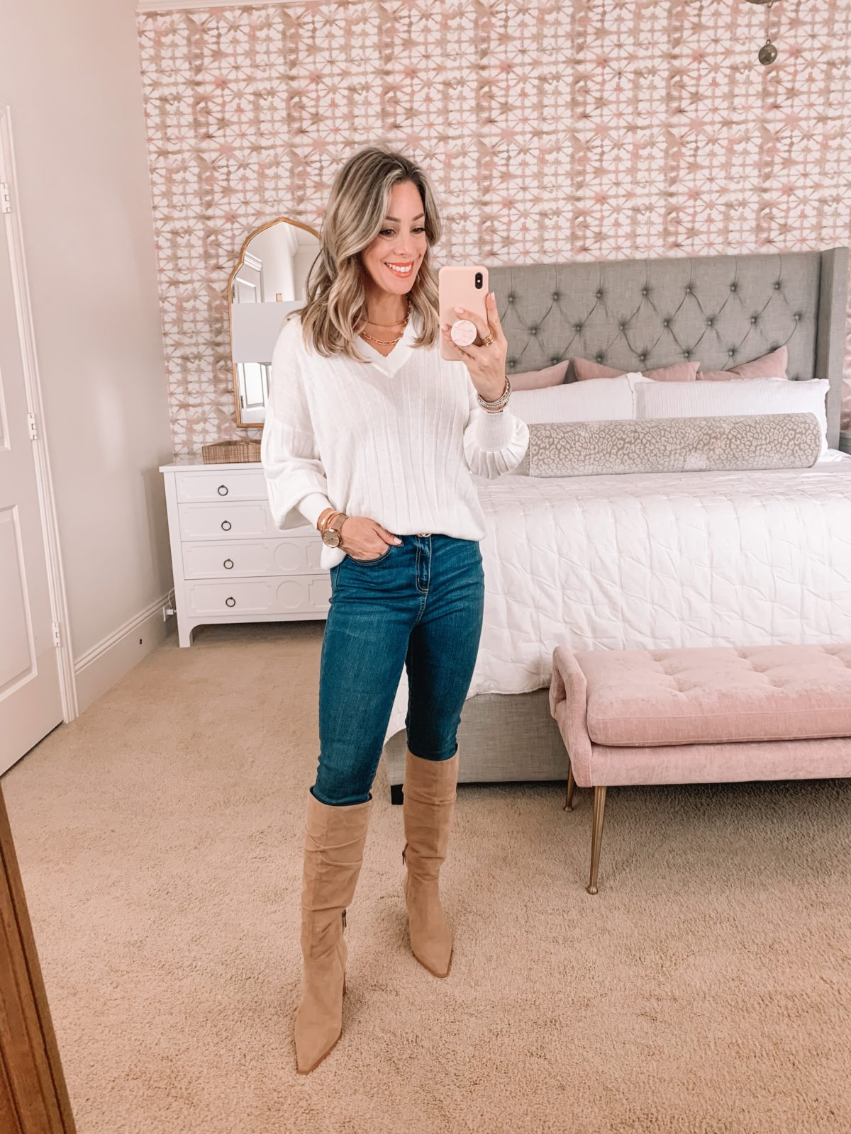 Amazon Fashion Faves, V-Neck Sweater, Jeans, Boots