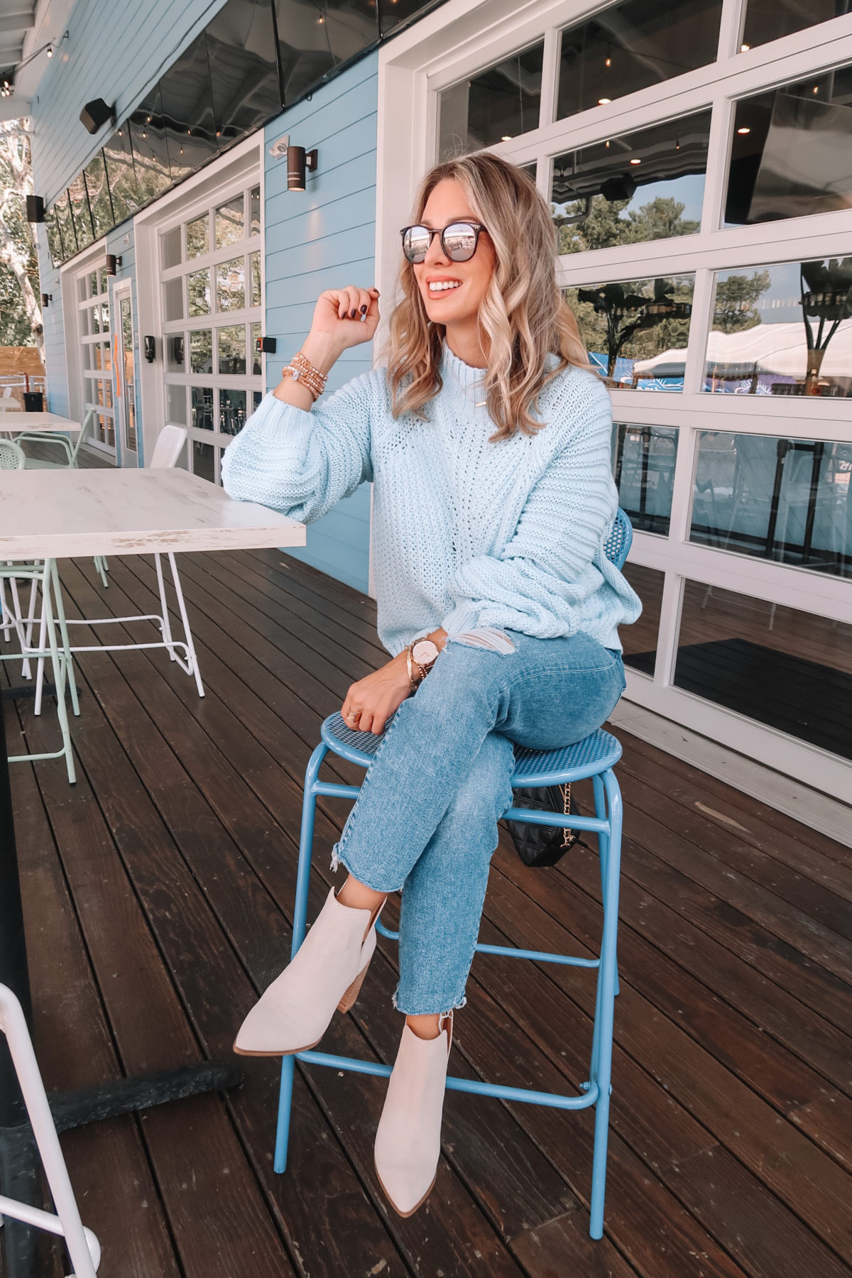 Amazon Fashion Faves, Blue Sweater, Jeans, Booties, Sunglasses