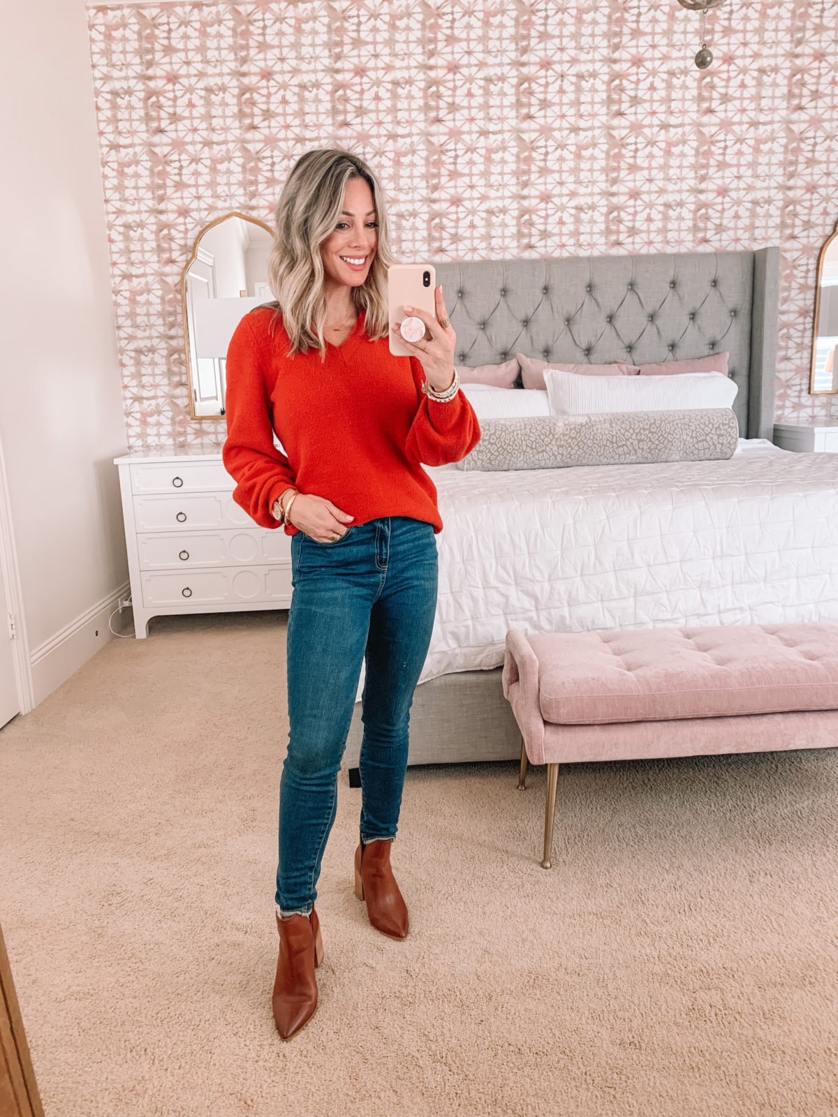 Dressing Room Finds Nordstrom, LOFT, Target, Red Sweater, Jeans, Booties