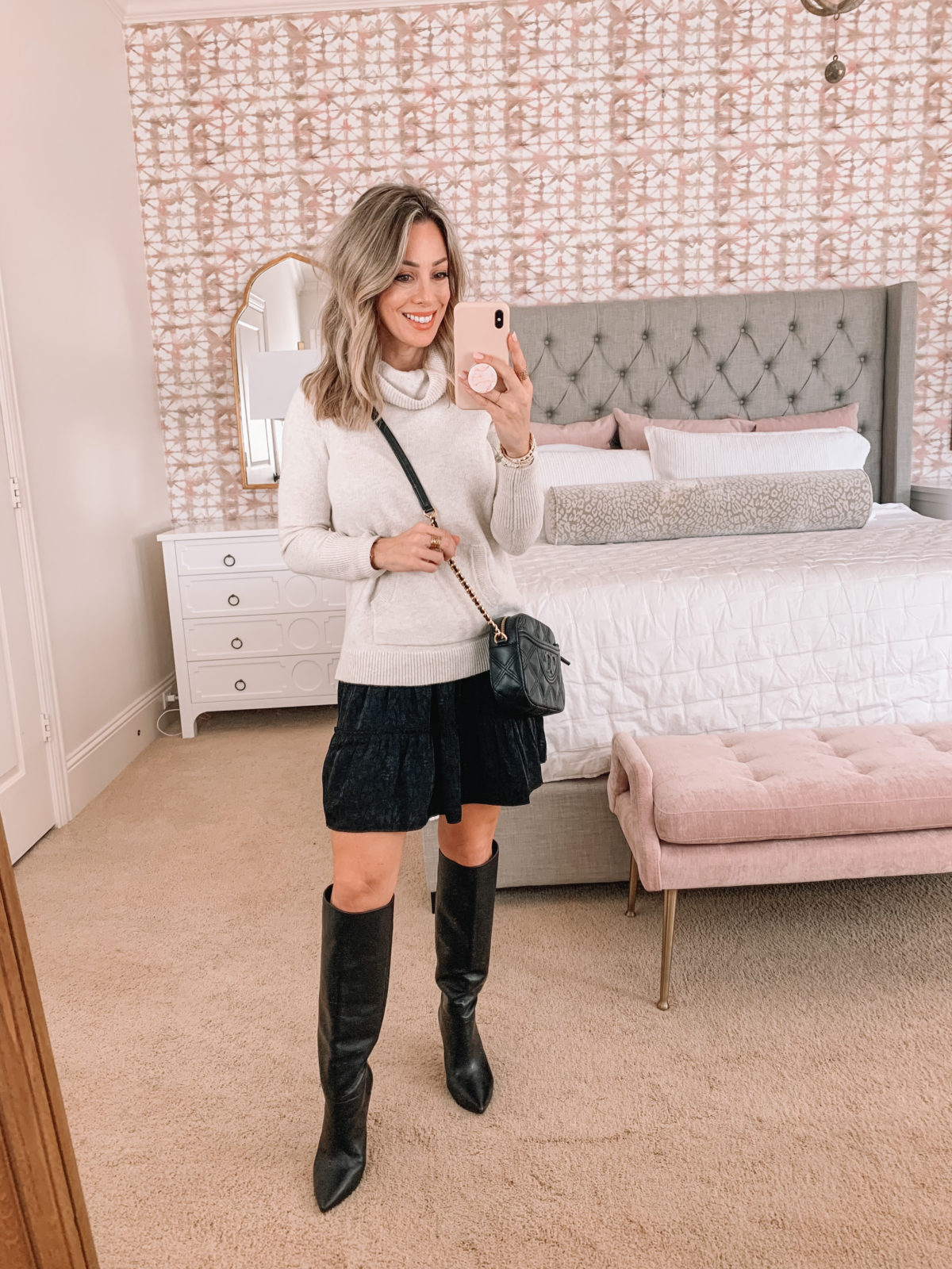 Dressing Room Finds, Nordstrom, Target, LOFT, Express, Sweater, Skirt, Boots, Crossbody