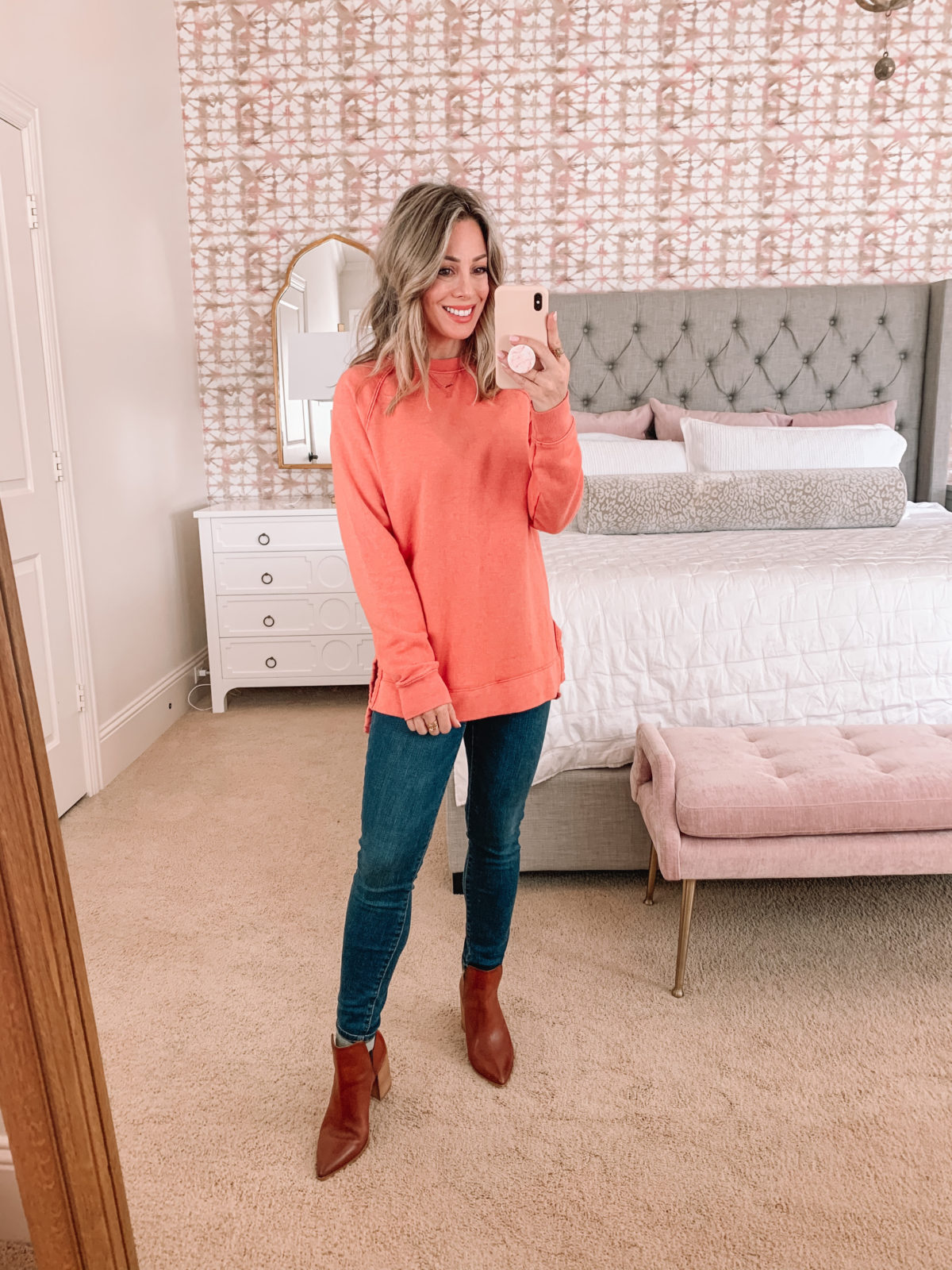 Dressing Room Finds, Nordstrom, Target, Express, LOFT, Tunic Sweatshirt, Jeans, Booties
