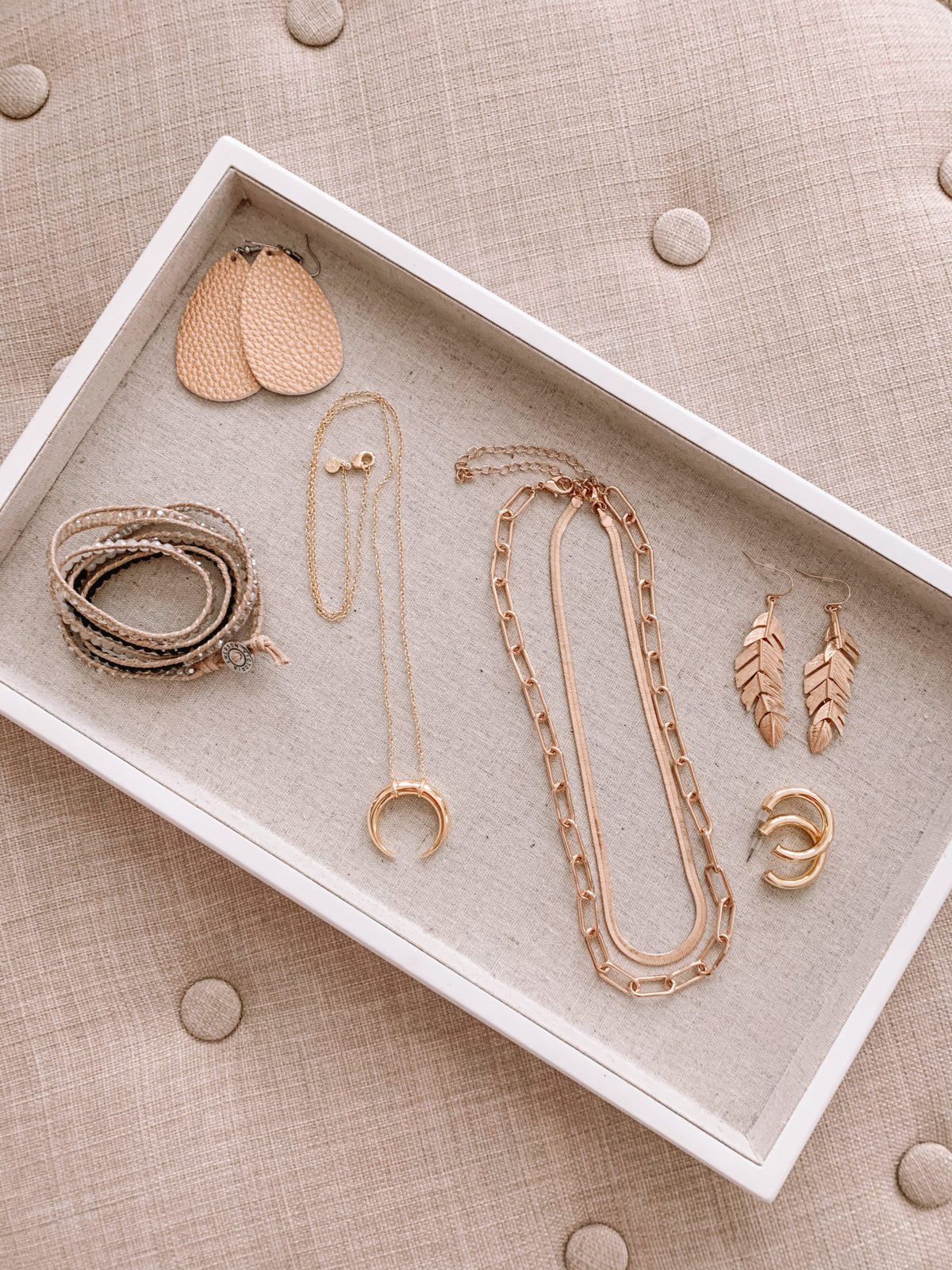 Amazon Fashion Faves, Wrap Bracelet, Faux Leather Earrings, Half Moon necklace, Double Necklace, Feather Earrings, hoop earrings