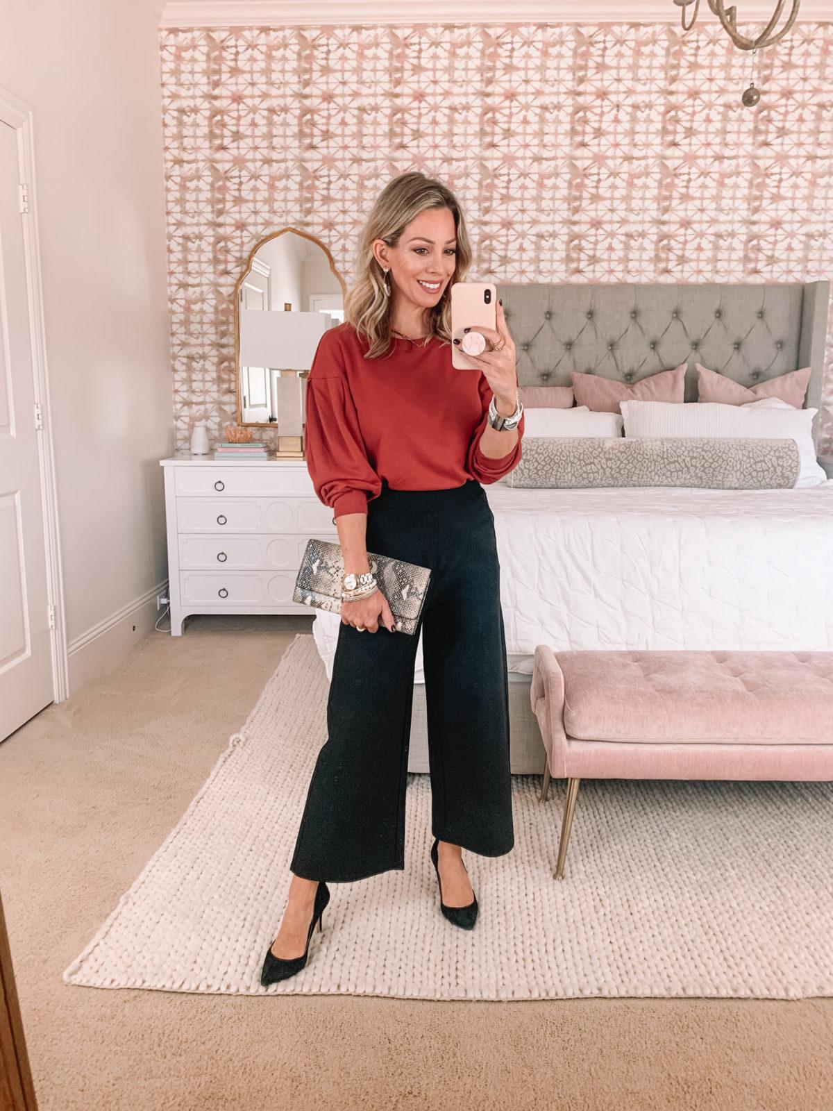 Amazon Fashion Faves, Puff sleeve top, wide leg pants, heels, snakeskin clutch