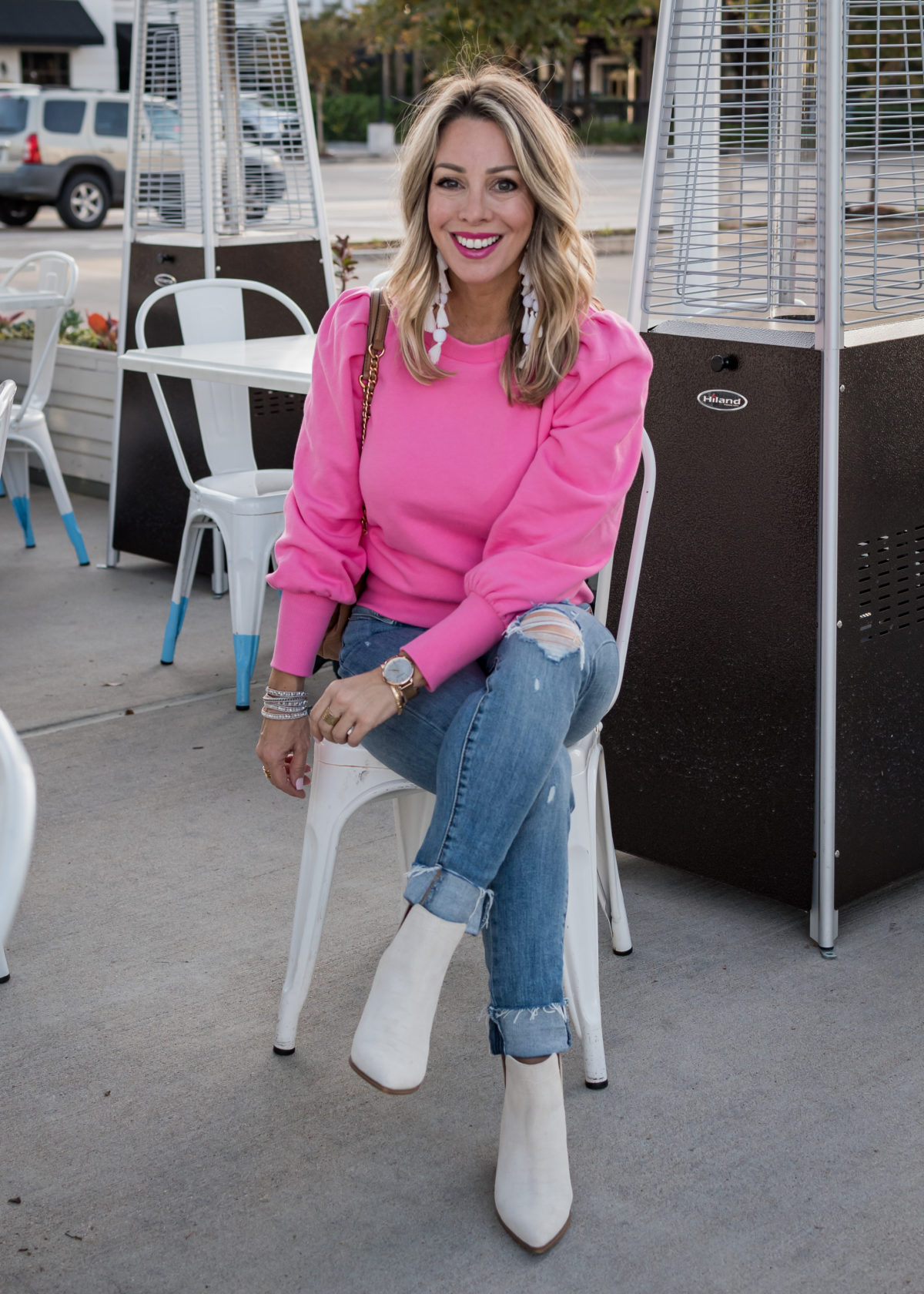 Valentine's Day Outfits, Pink Puff Sleeve Sweatshirt, Jeans, Booties, Statement Earrings