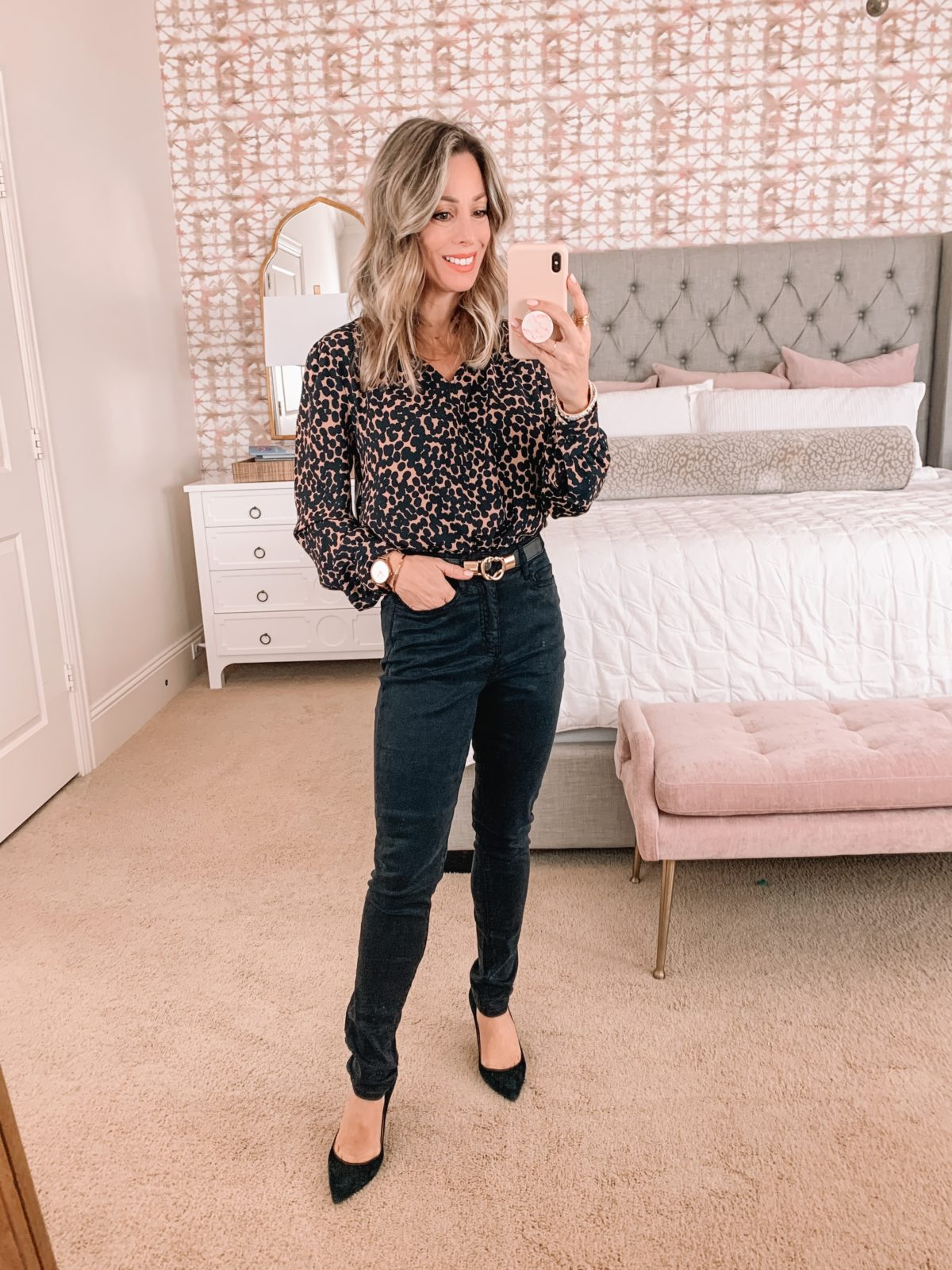 Amazon Fashion Faves, Dotted Blouse, Pants, Heels