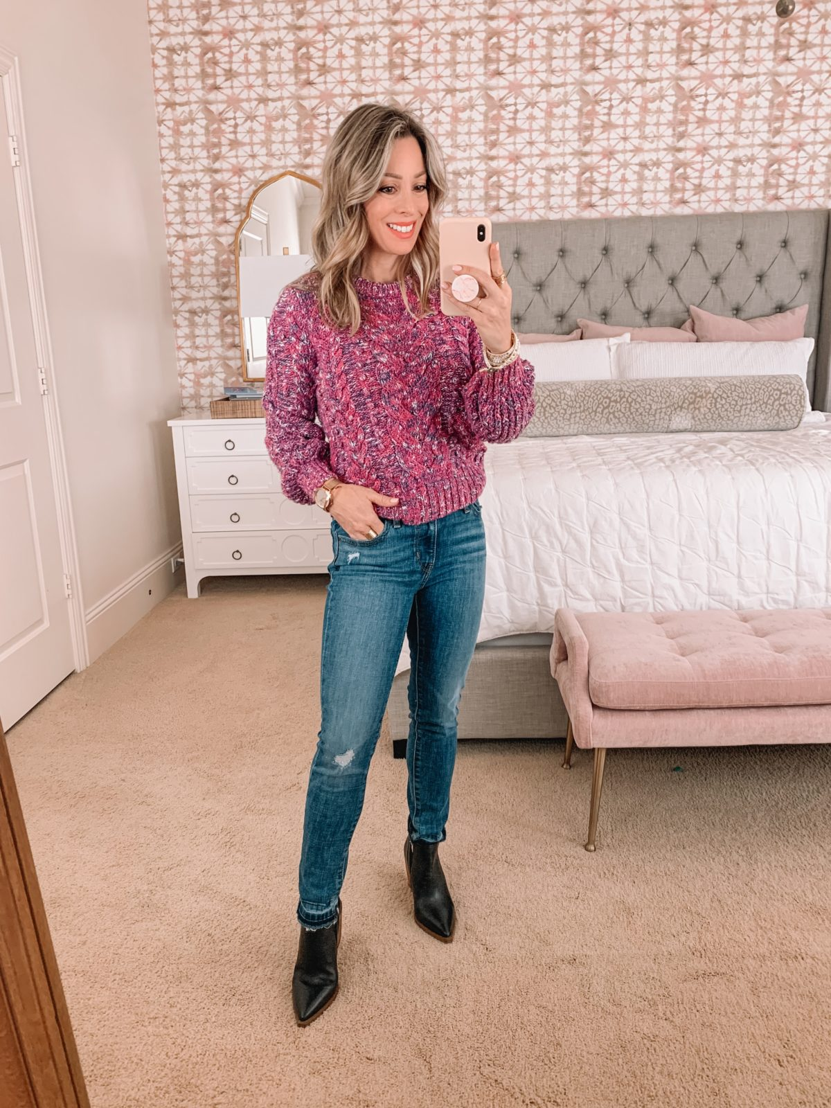 Amazon Fashion Faves, Pink Sweater, Jeans, Booties