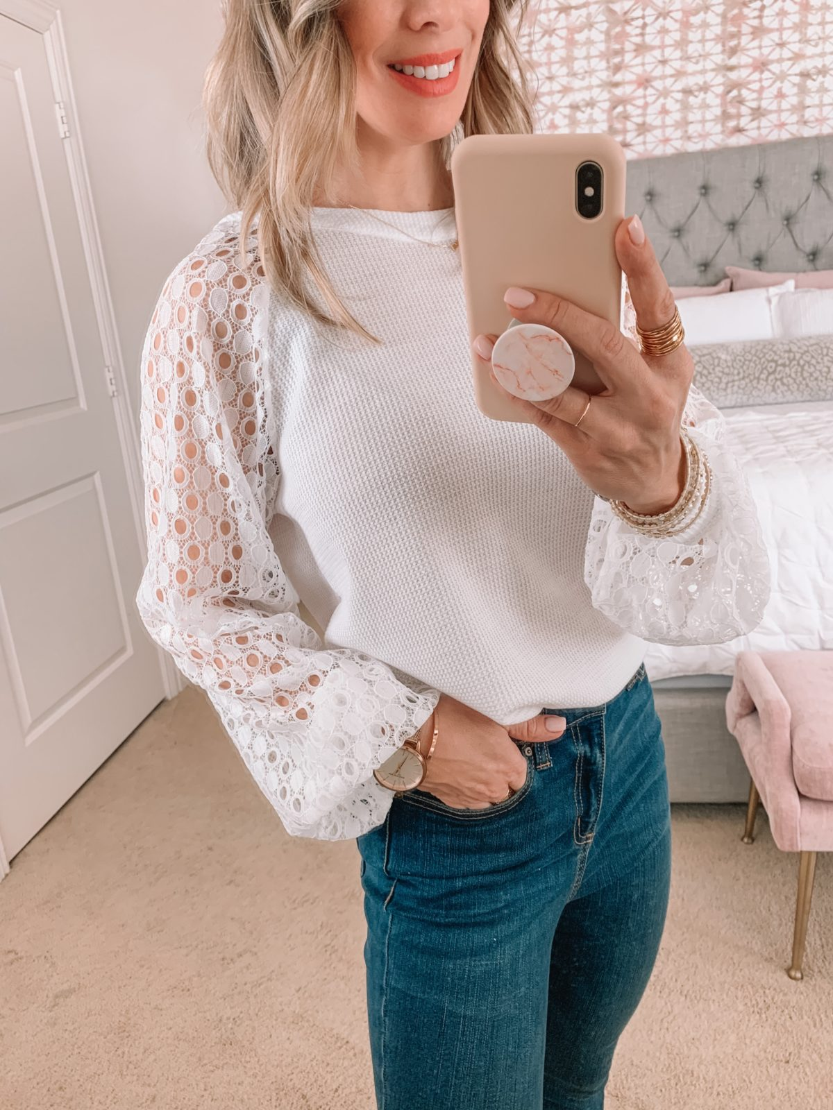Amazon Fashion Faves, White Lace Sleeved Top, Jeans, Heels