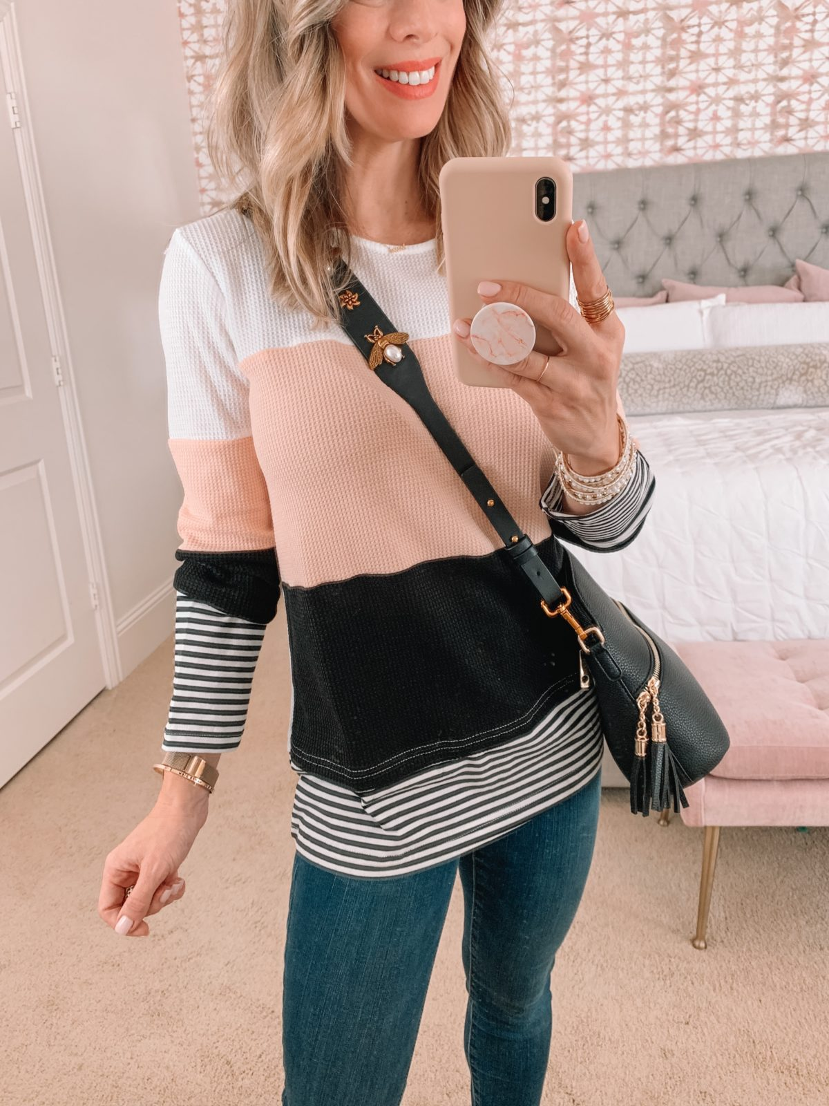 Amazon Fashion Faves, Colorblock Waffle Top, Jeans, Booties, Crossbody