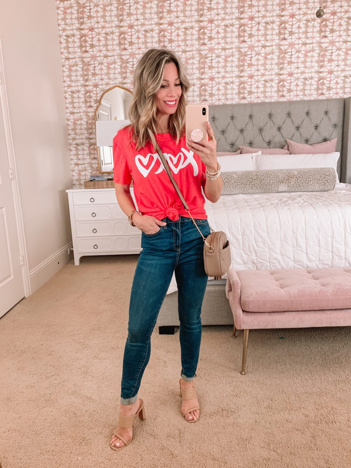 Amazon Fashion Faves, Xoxo Tee, Jeans, Sandals, Crossbody