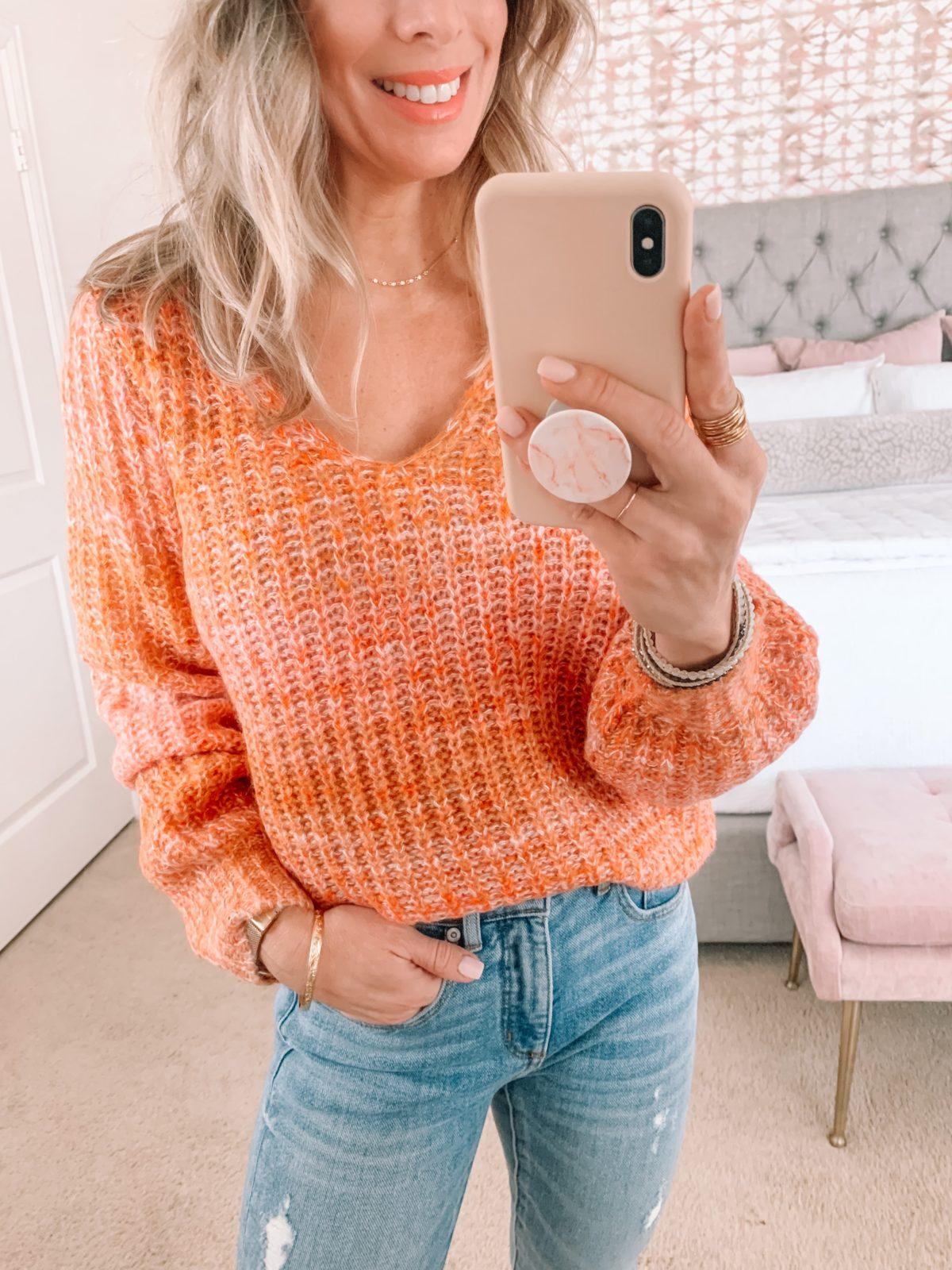 Dressing Room Finds, Orange Sweater, Jeans