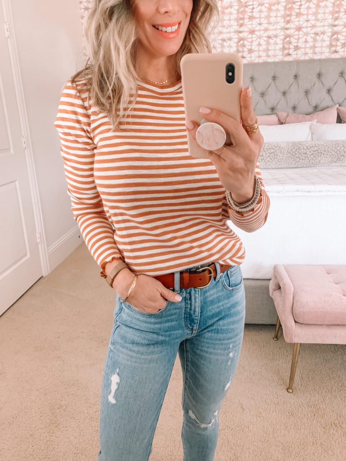 Dressing Room Finds, Stripe Tee, Jeans