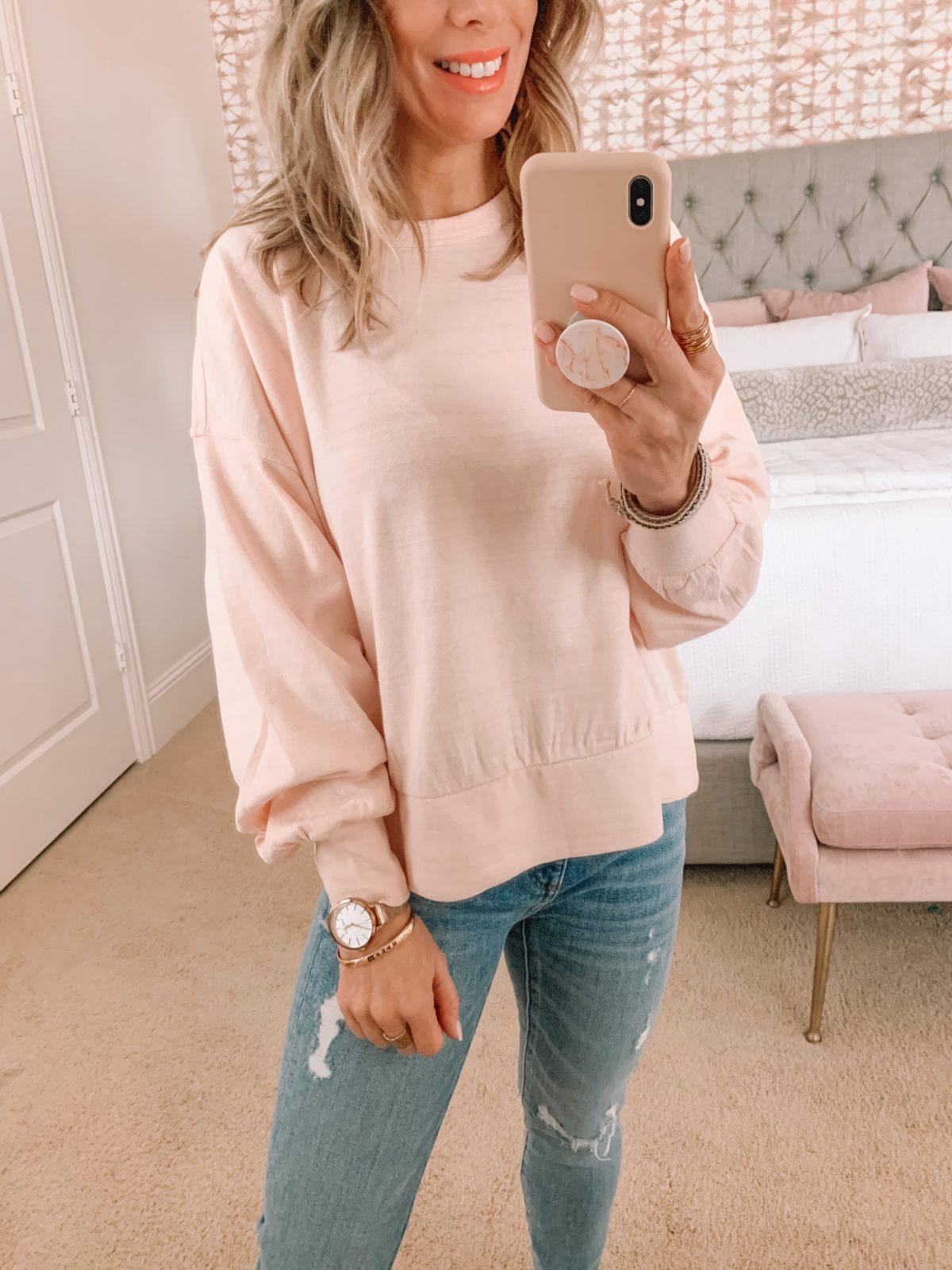 Dressing Room Finds, Pink Crew neck Sweatshirt, Jeans