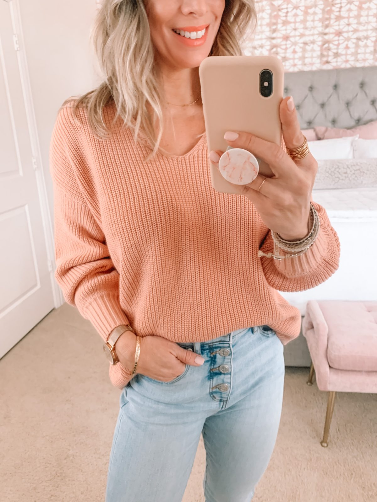 Dressing Room Finds, Peach Sweater, Jeans