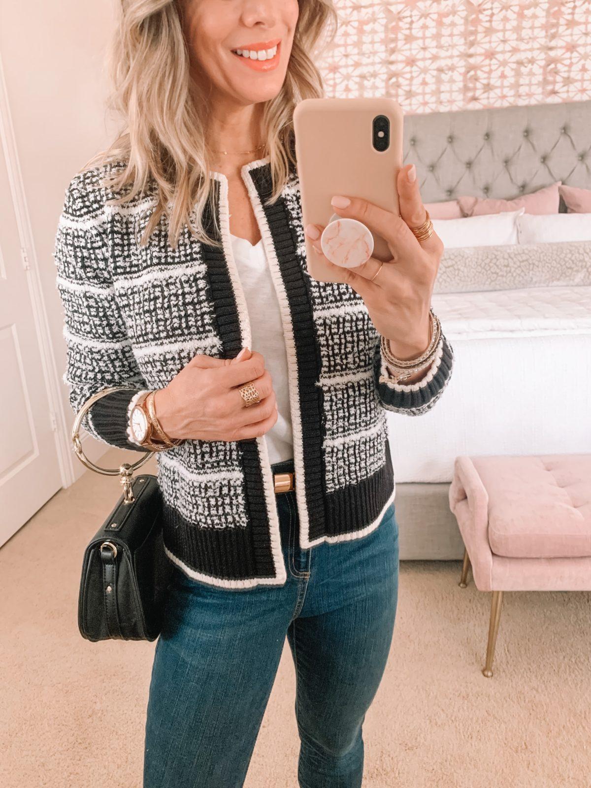 Dressing Room Finds, Tee, Tweed Jacket, Jeans, Heels, Clutch Purse