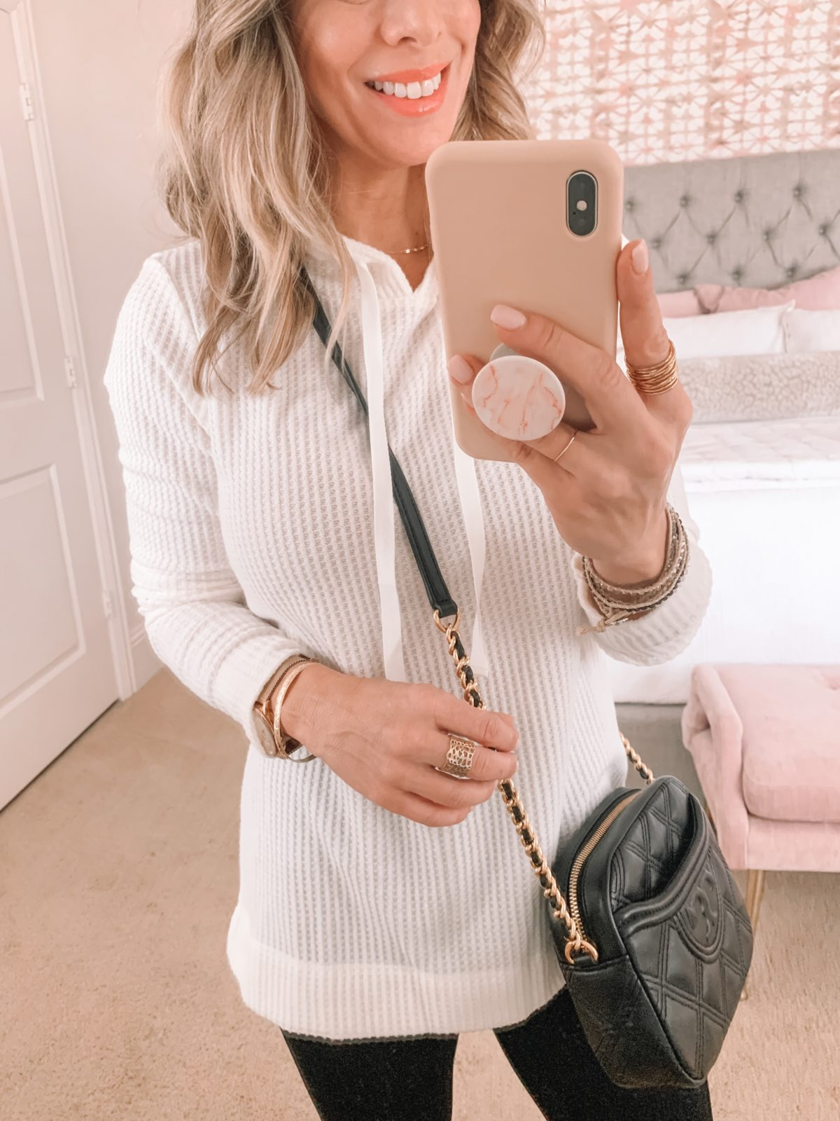 Dressing Room Finds, Waffle Knit Pullover, Leggings, Sneakers, crossbody