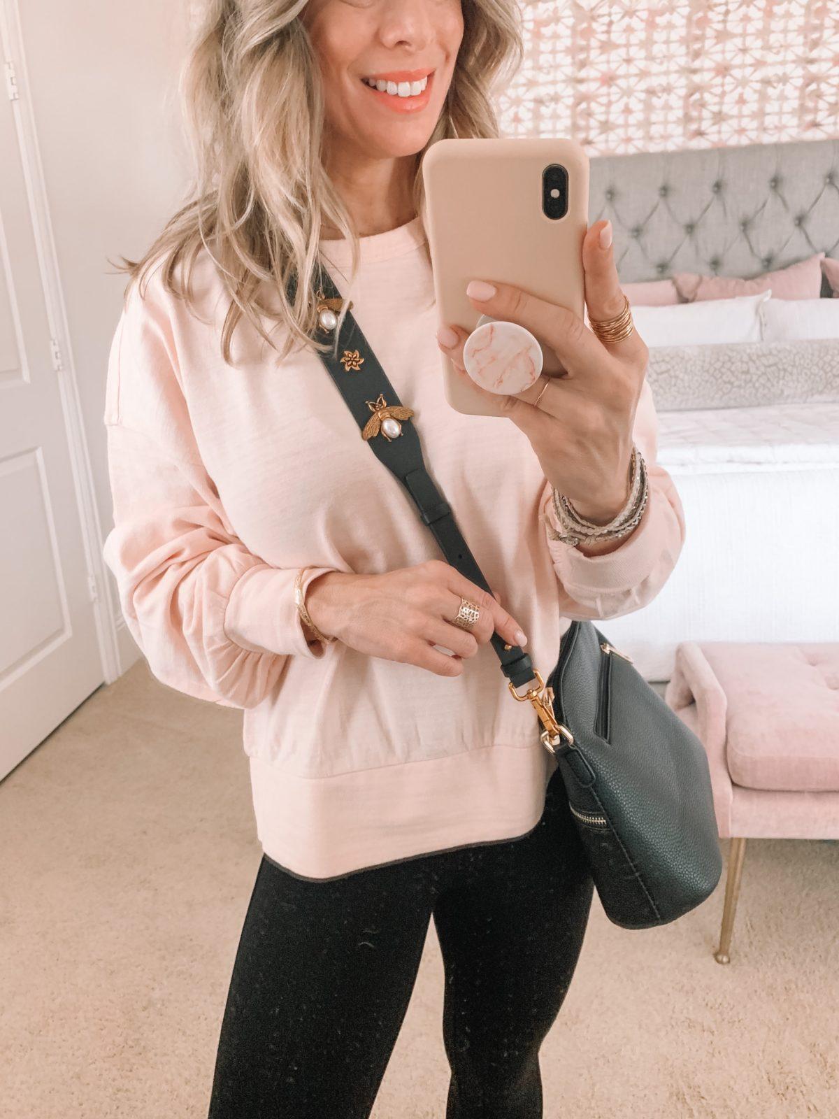 Dressing Room Finds, Pink Sweatshirt, Leggings, Crossbody. Bee Strap