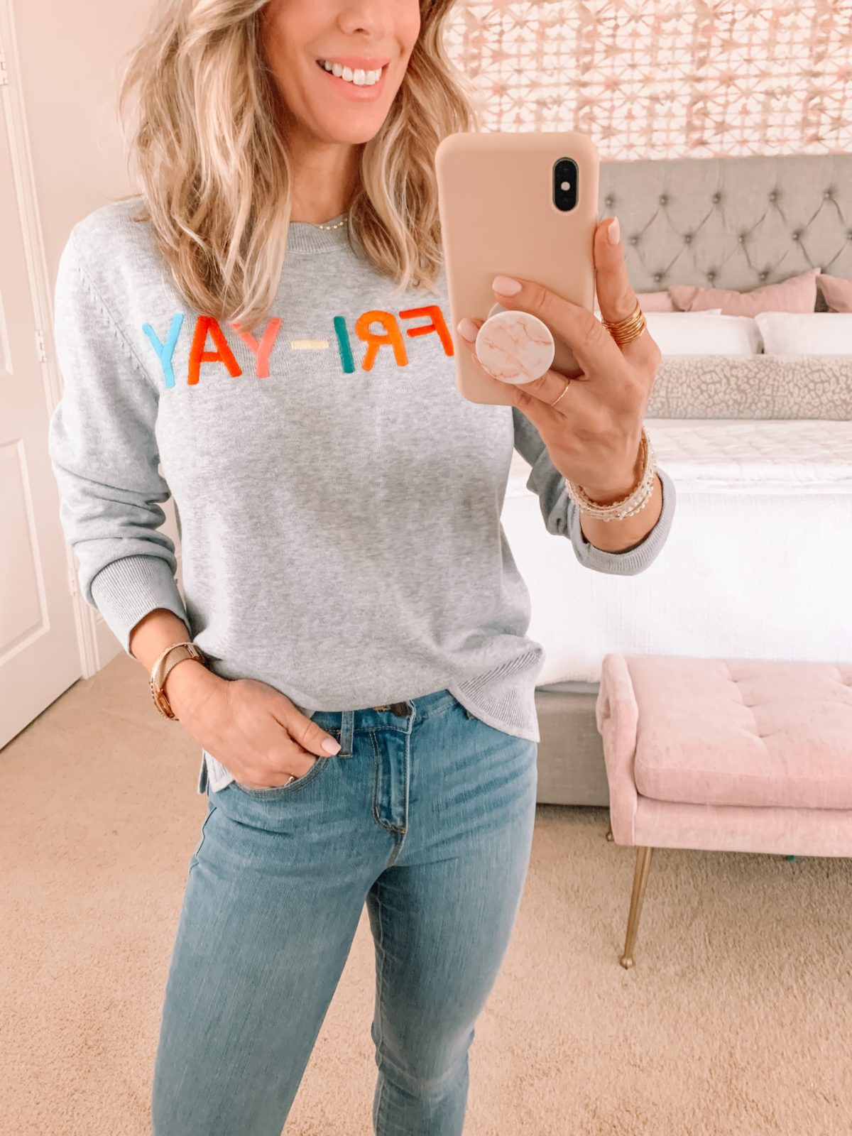 Dressing Room Finds, Walmart Friyay Top, Jeans, White Booties