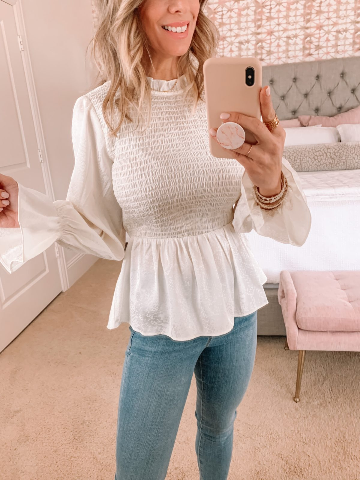 Dressing Room Finds, White Peplum Top, Jeans