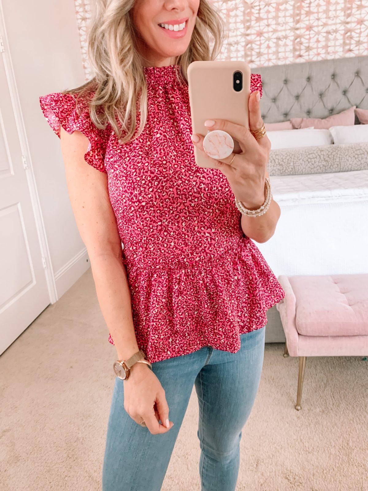Dressing Room Finds, Pink Flutter Sleeve Floral Peplum Top, Jeans