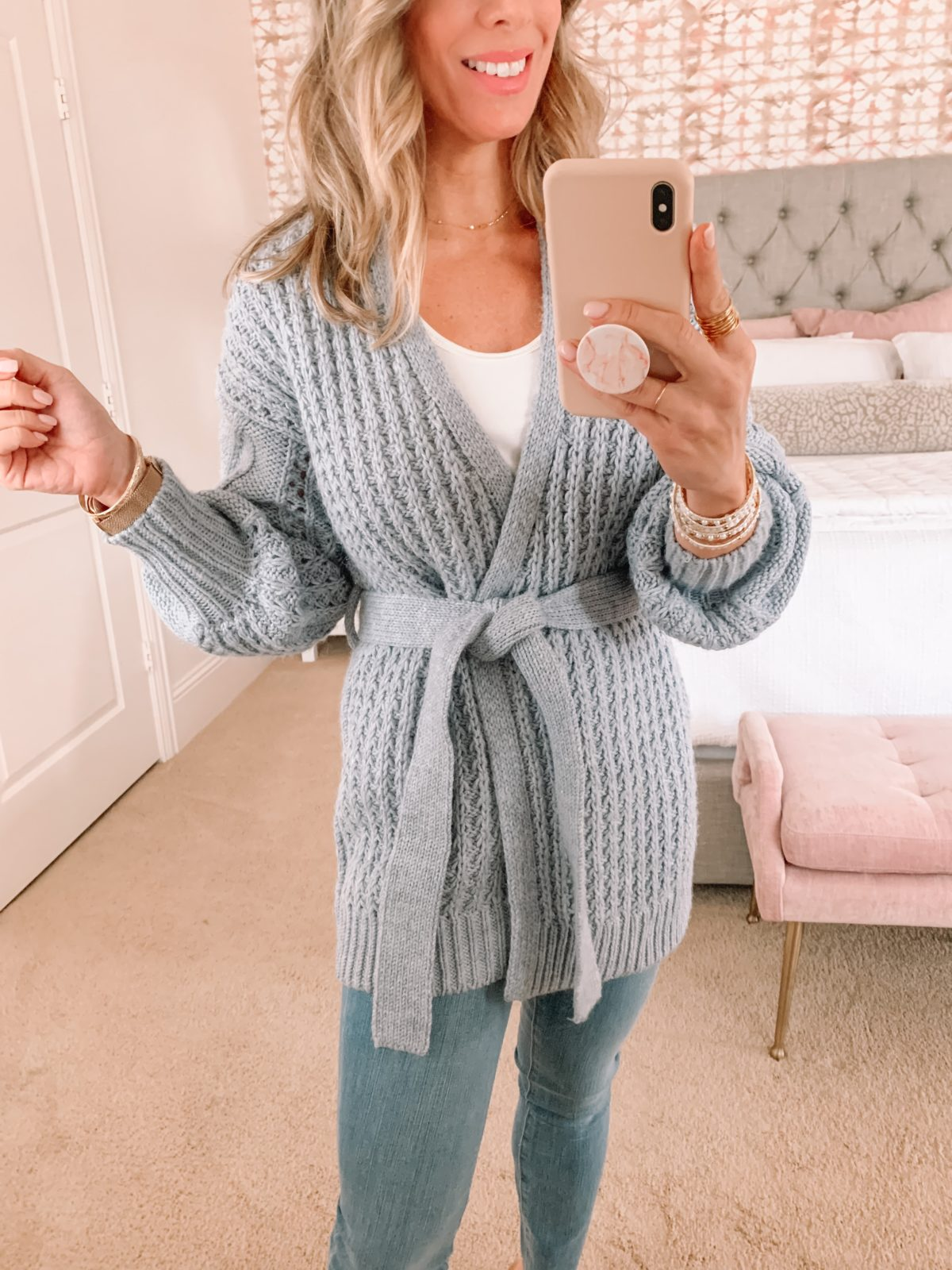 Dressing Room Finds, Gray Tie Waist Cardigan, Tank, Jeans