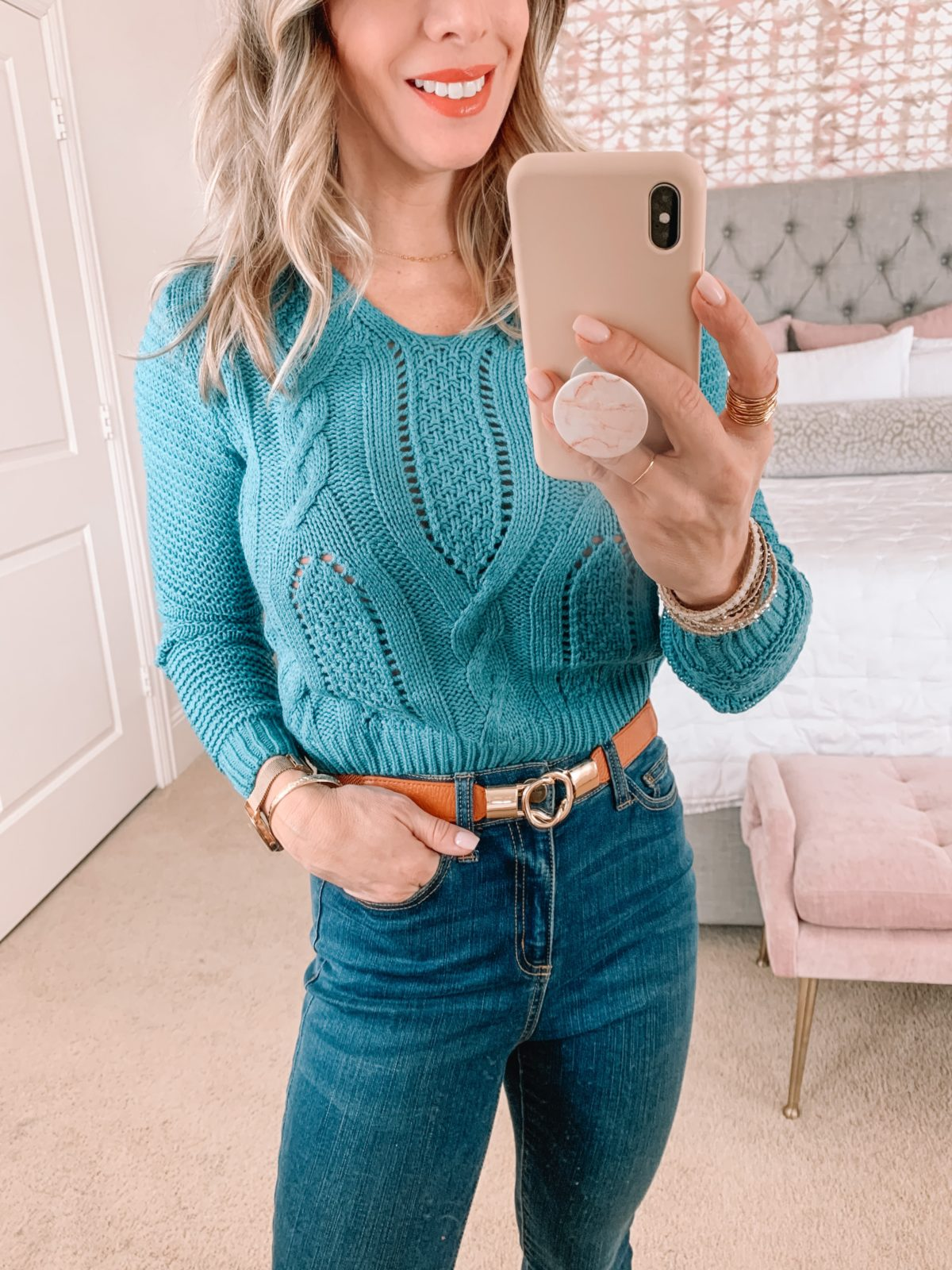 Amazon Fashion Faves, Blue Sweater, Jeans, Booties, Stretchy Belt