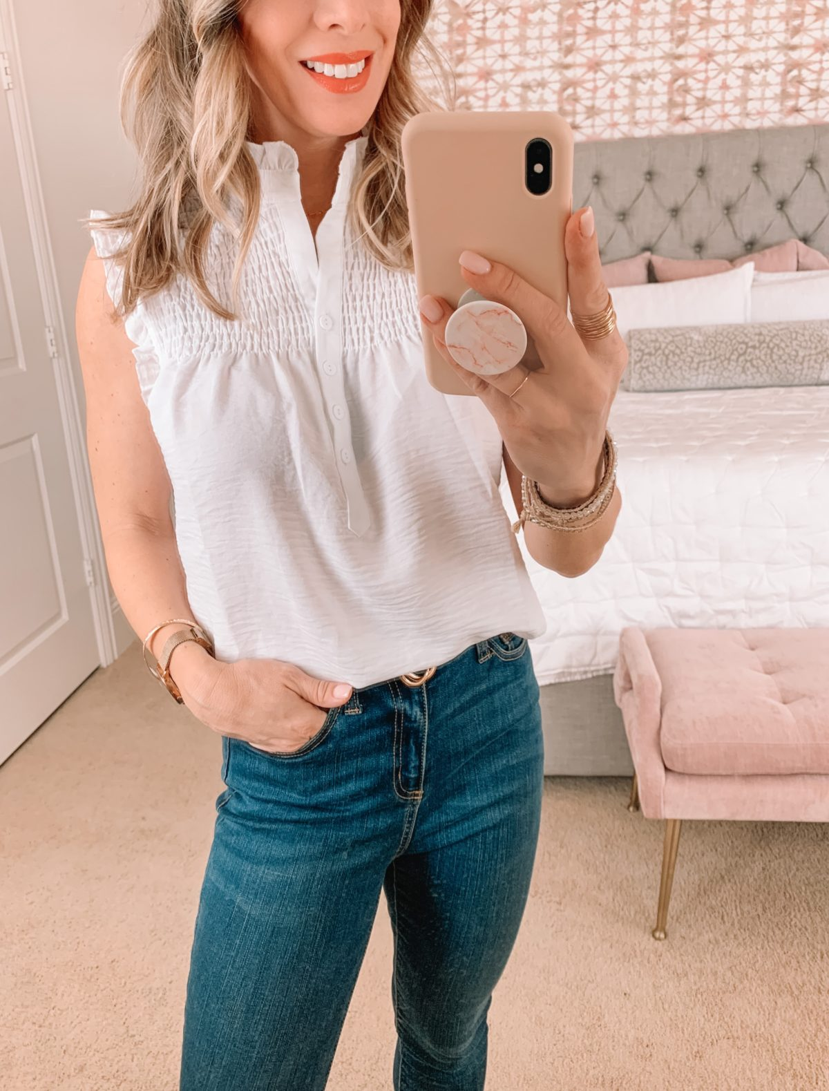 Amazon Fashion Faves, White Smocked Top, Jeans, Heels
