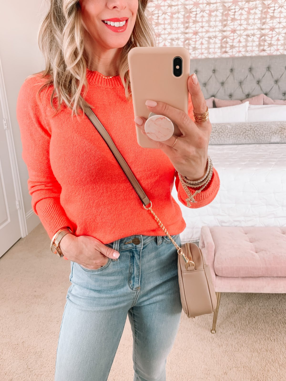 Amazon Fashion Faves, Coral Crew Neck Sweater, Jeans, Booties, Crossbody