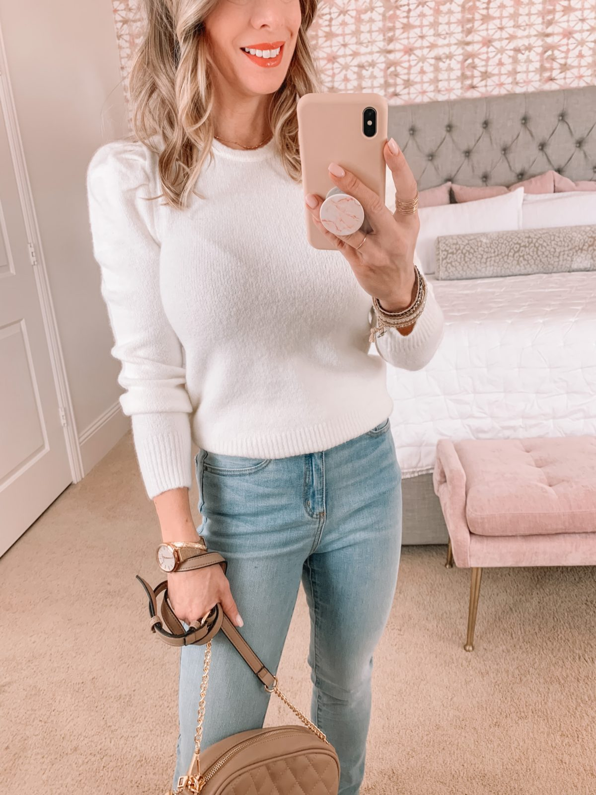 Amazon Fashion Faves, White Puff Sleeve Top, Jeans, Heels, Crossbody