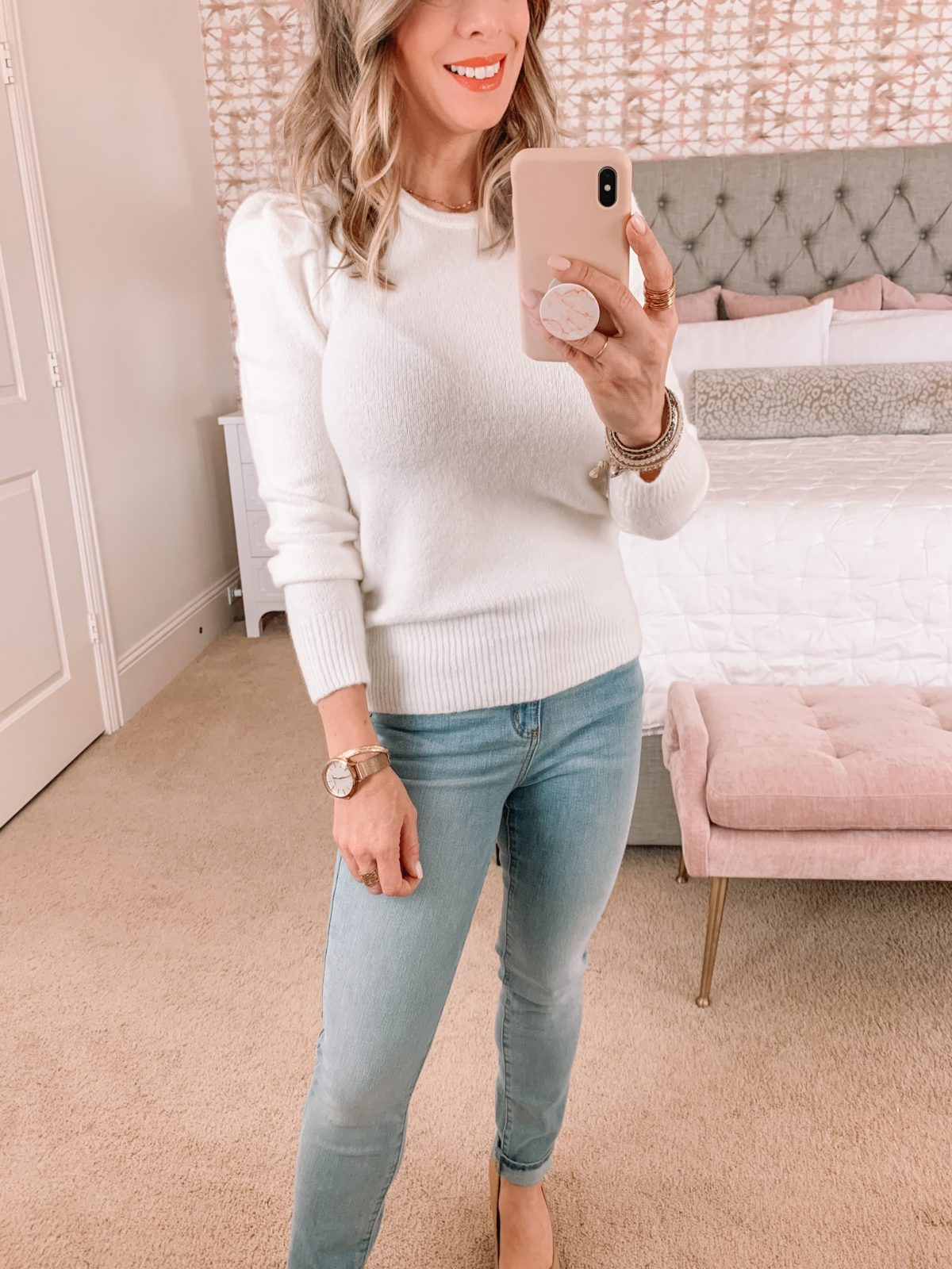 Amazon Fashion Faves, Puff Sleeve Sweater, Jeans