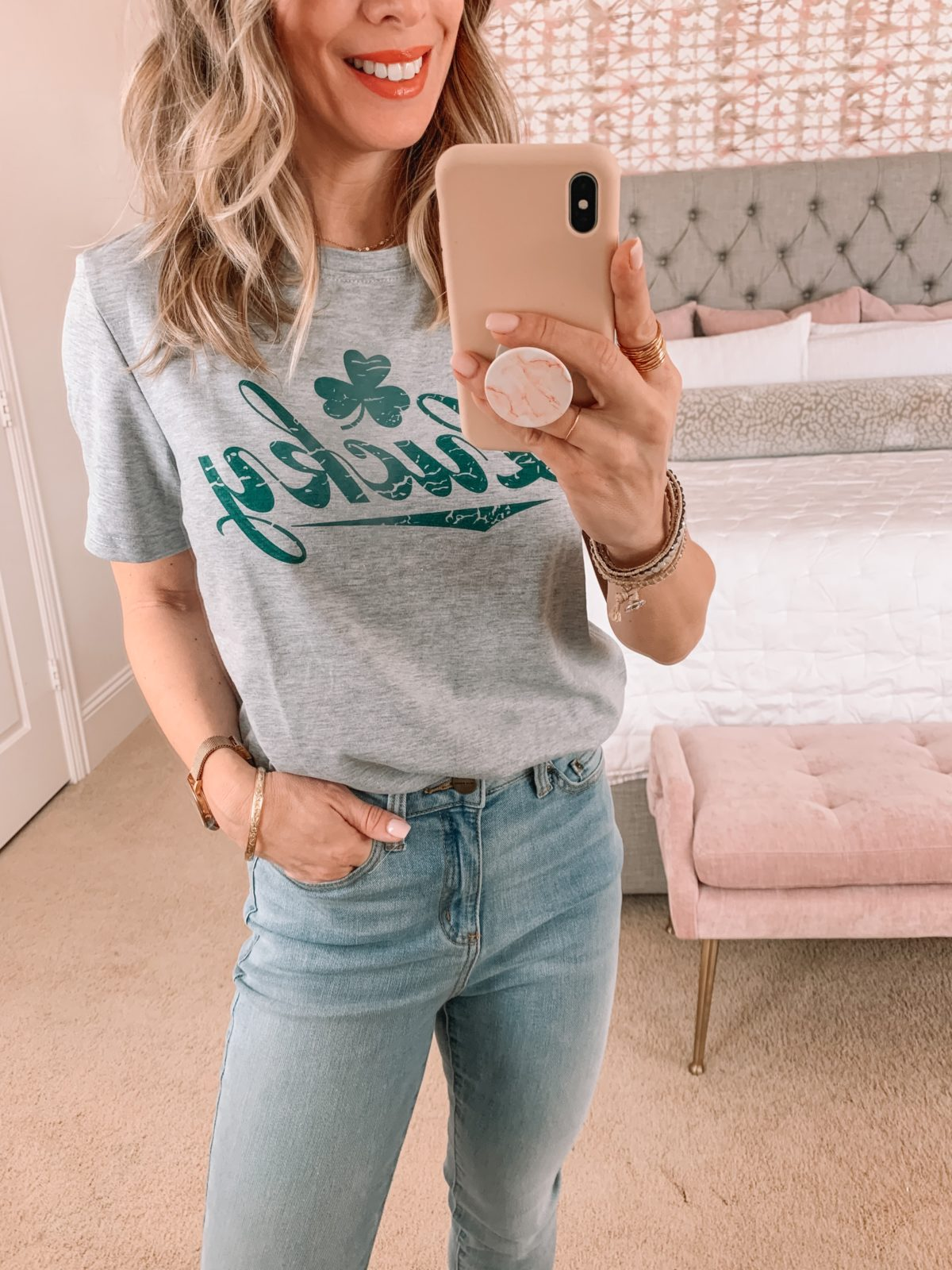 Amazon Fashion Faves, Lucky tee, Jeans, Booties