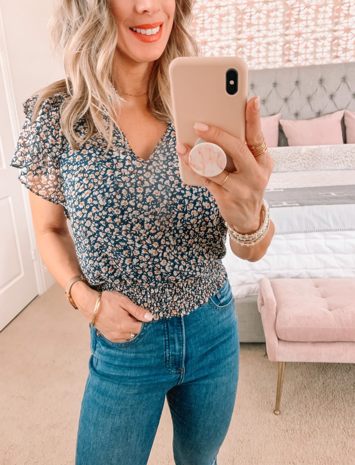 Dressing Room Finds, LOFT, Revolve, Floral Top, Jeans