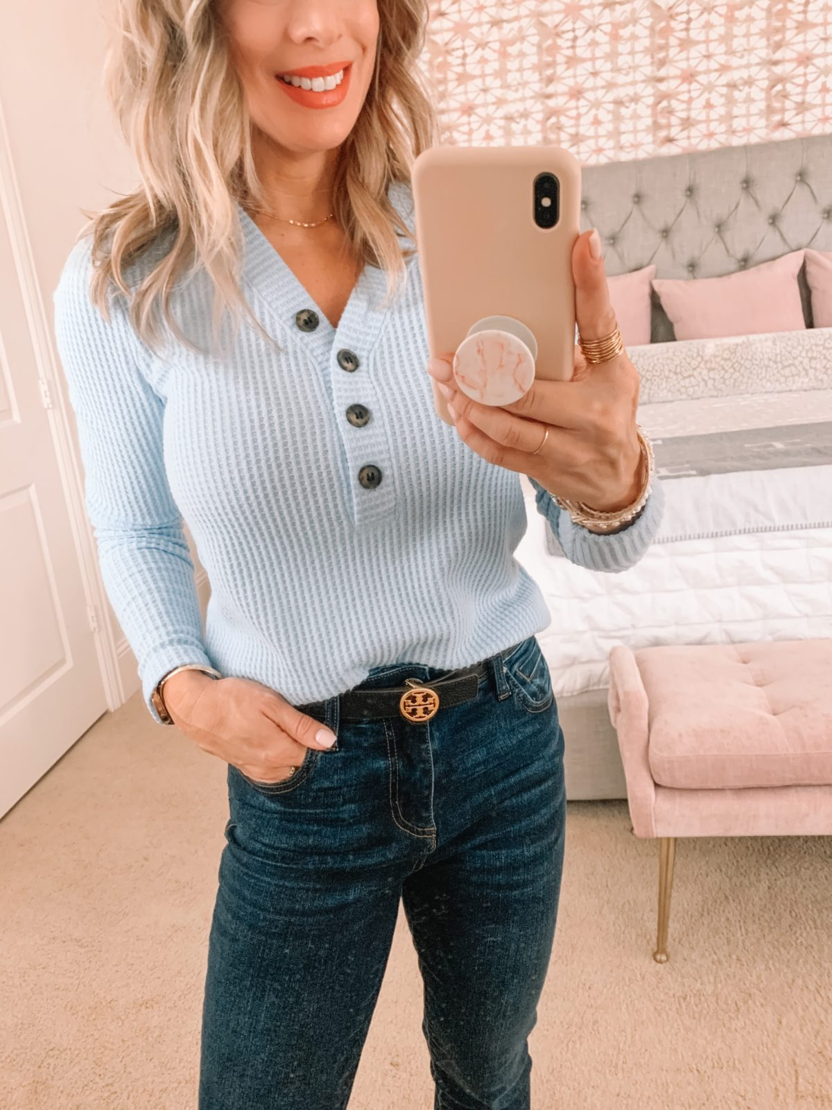 Dressing Room Finds Nordstrom, LOFT, REVOLVE, Henley Waffle Top, Jeans, Tory Burch Belt, Sandals