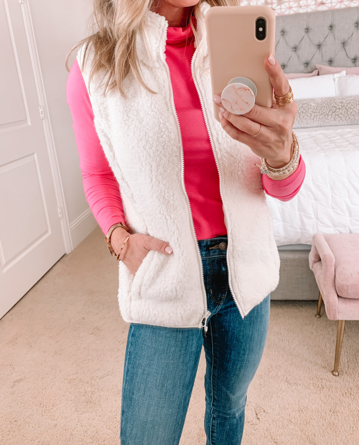 Amazon Fashion Faves, Pink Turtleneck, Vest, Jeans, Booties, Hat
