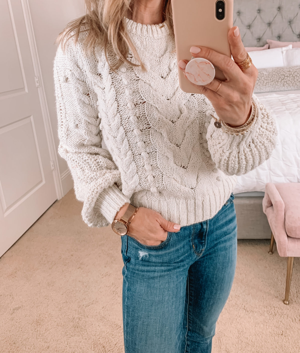 Amazon Fashion Faves, Chunky Knit Sweater, Jeans, Booties