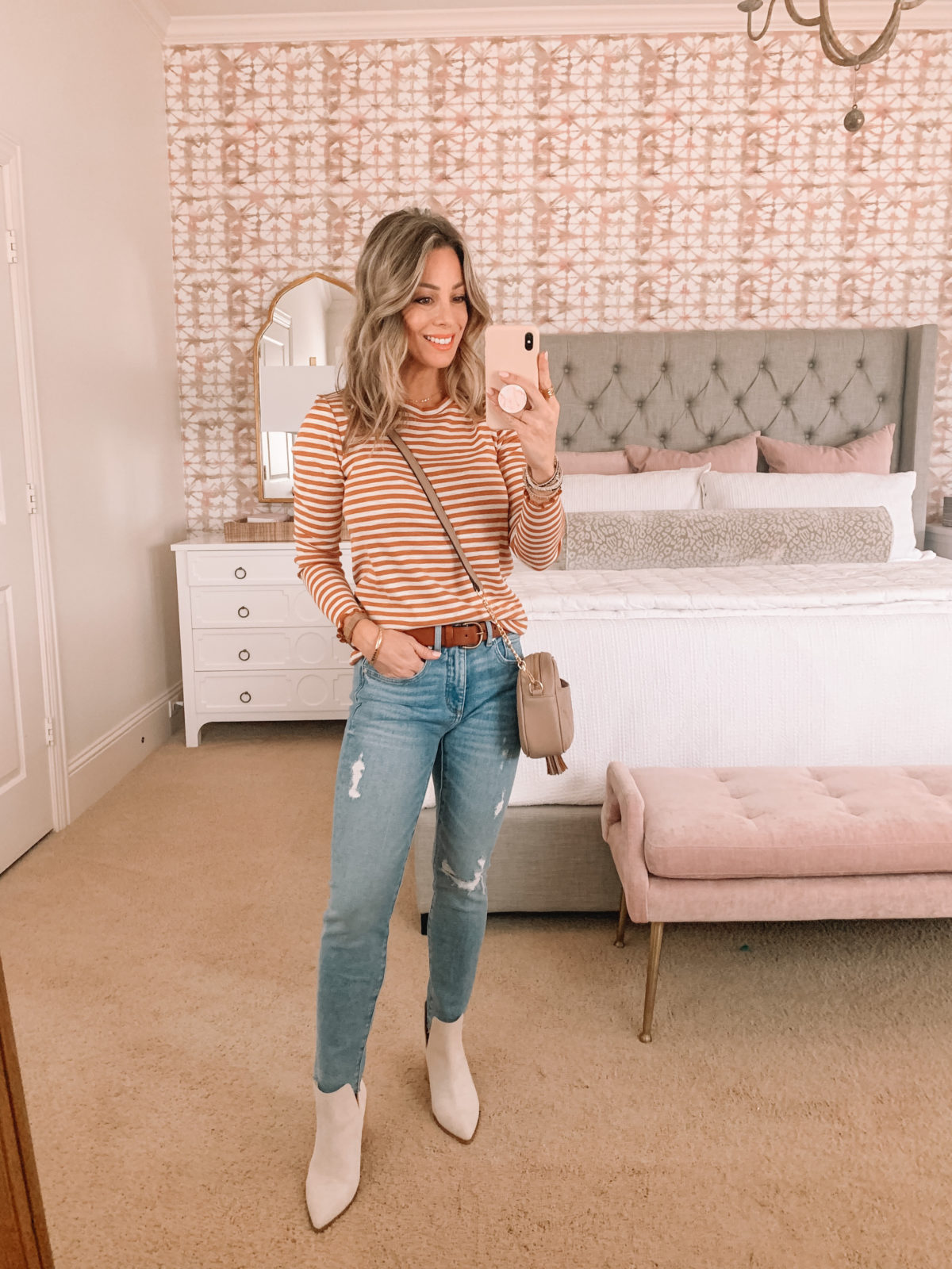 Dressing Room Finds Striped Top, Jeans, Booties Crossbody
