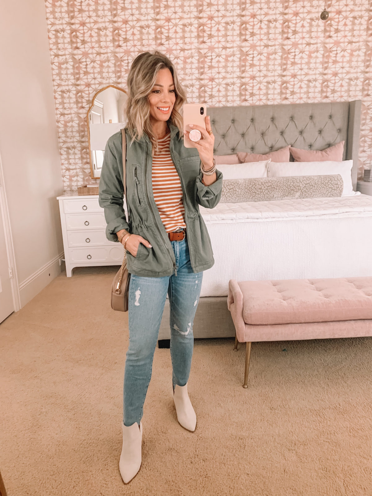 Dressing Room Finds, Stripe Tee, Jeans, Cargo Jacket, White Booties, Crossbody