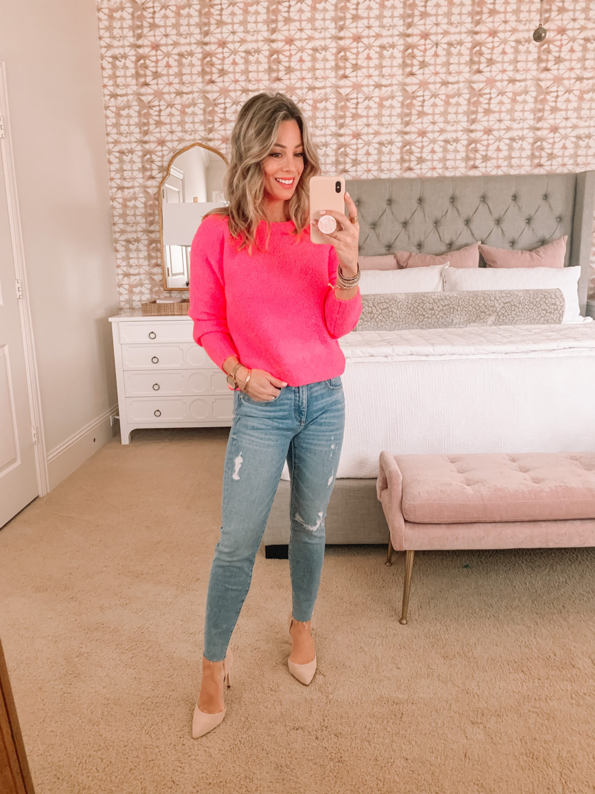 Dressing Room Finds, Pink Crewneck Sweater, Jeans, Heels