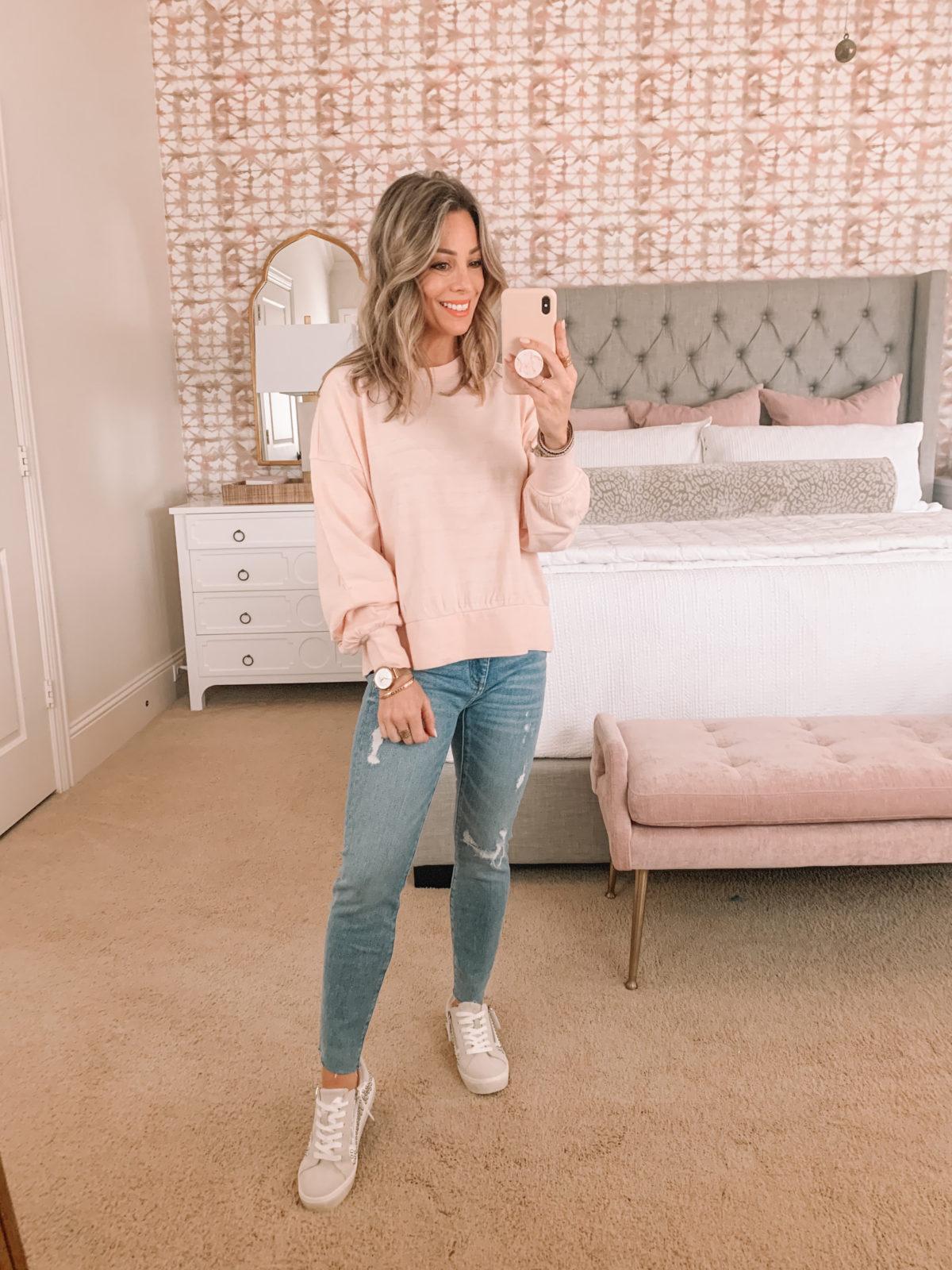 Dressing Room Finds, Pink Crew neck Sweatshirt, Jeans, Sneakers