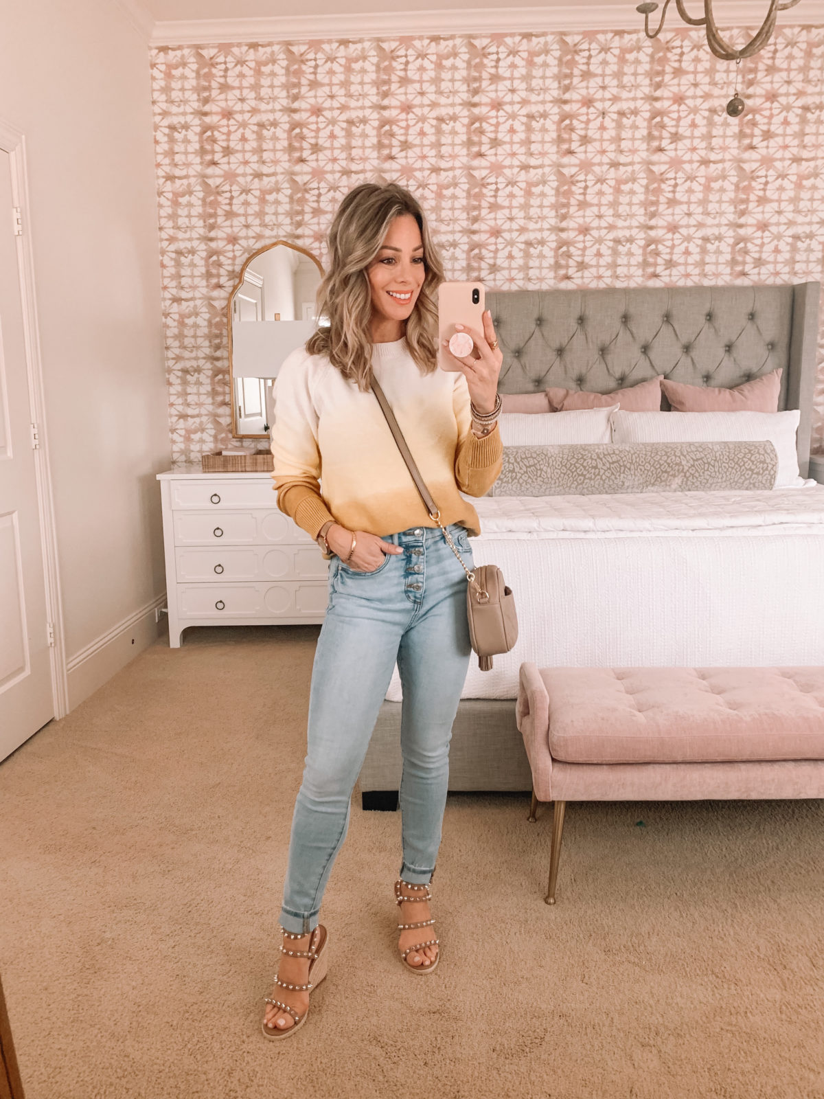 Dressing Room Finds Ombre Sweater, Jeans, Studded Sandals