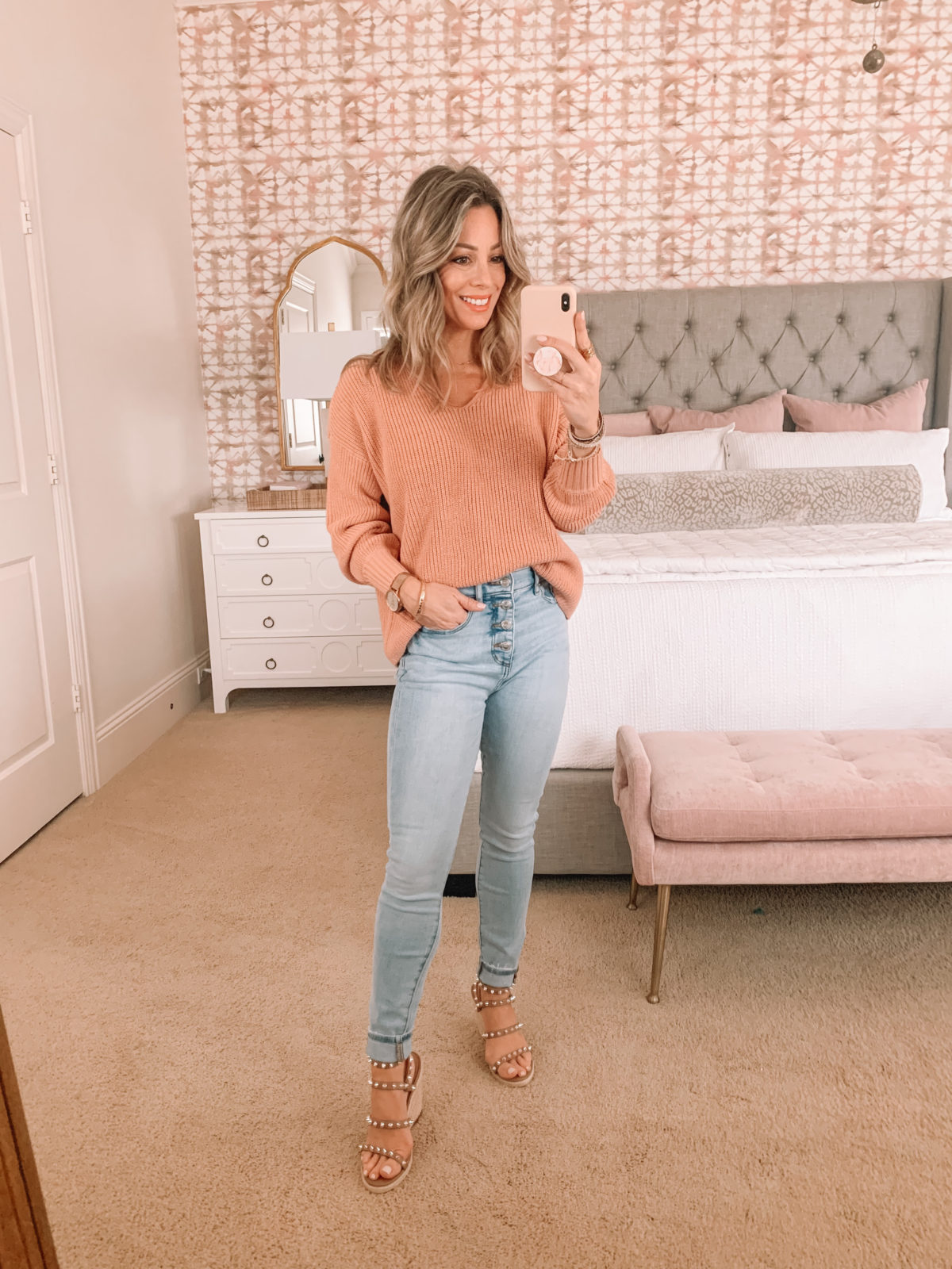 Dressing Room Finds, Peach sweater, Jeans, Studded Wedges